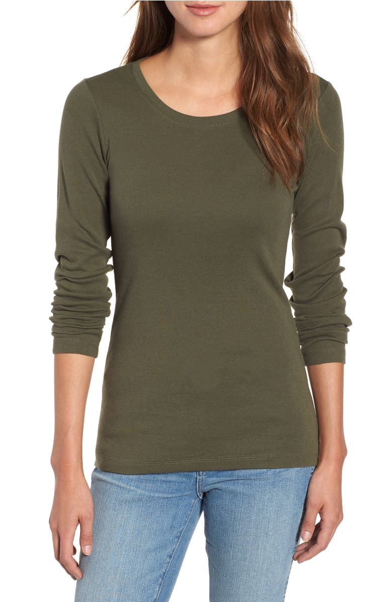 Long Sleeve Scoop Neck Cotton Tee, Main, color, Green Beetle