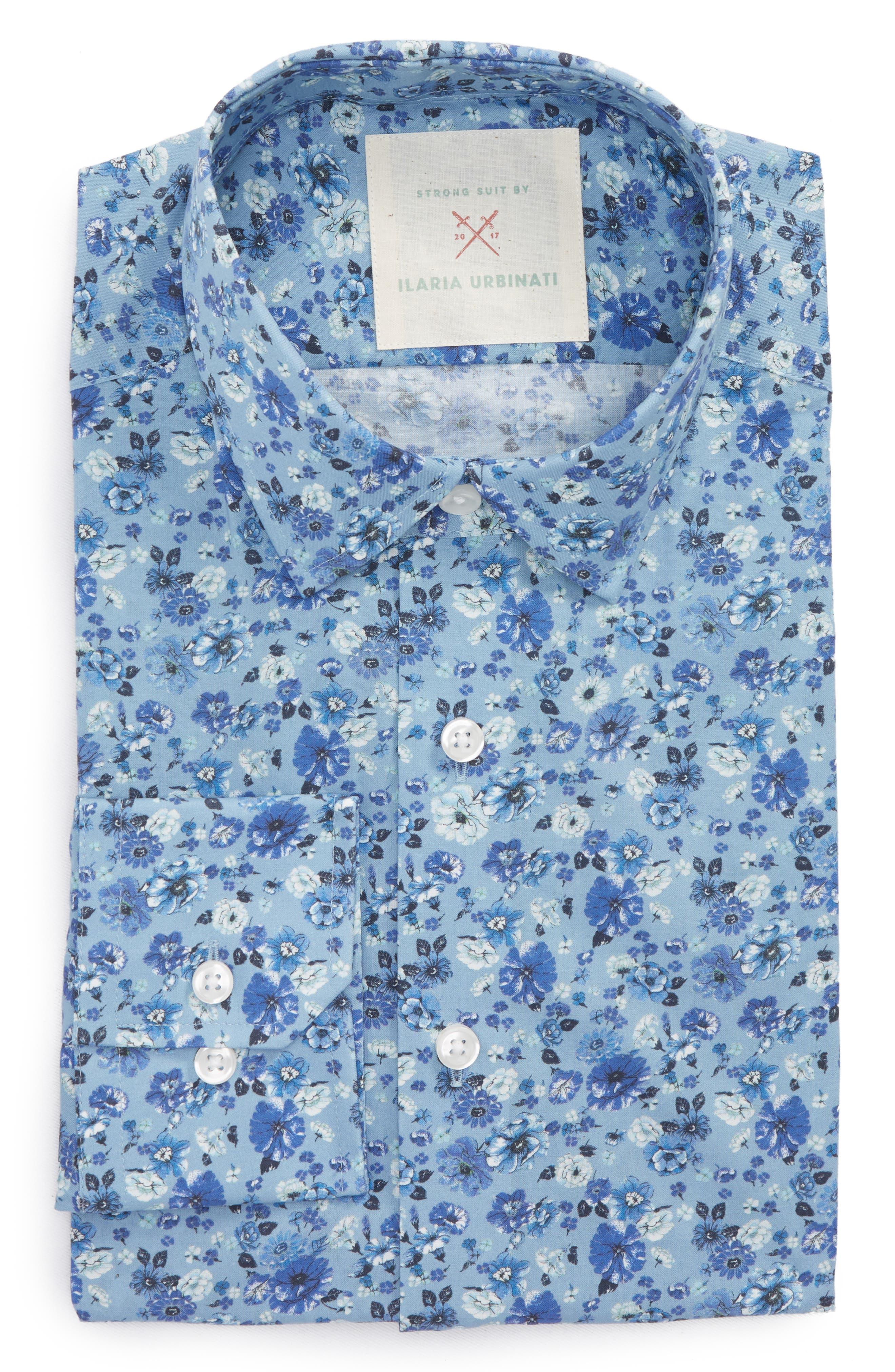 by Ilaria Urbinati Edmond Slim Fit Floral Dress Shirt,                         Main,                         color, Light Blue