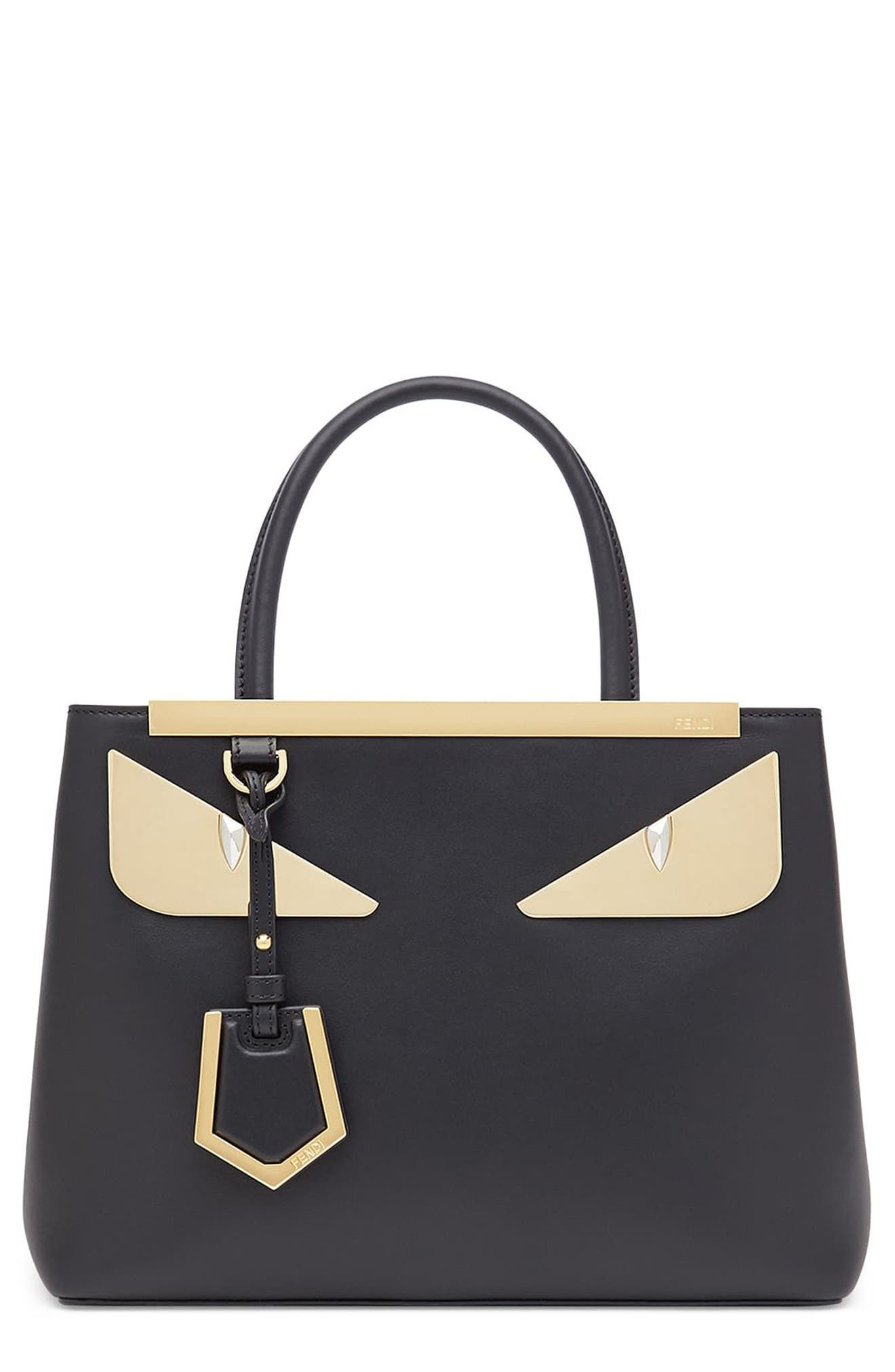 Petite 2Jours Monster Eyes Leather Shopper,                         Main,                         color, Nero/ Oro Soft