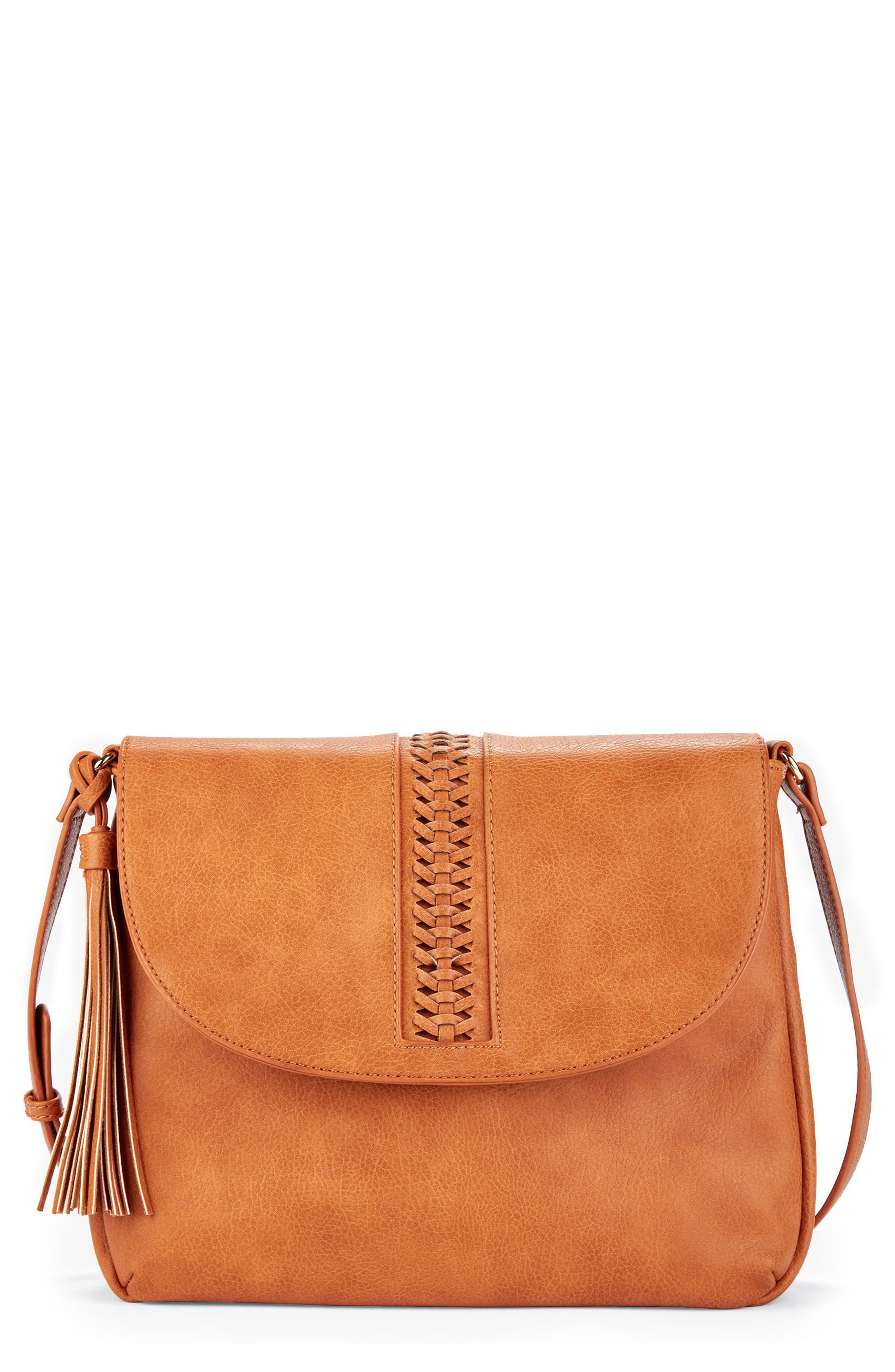 Tara Stitch Detail Faux Leather Crossbody Bag,                             Main thumbnail 1, color,                             Cognac