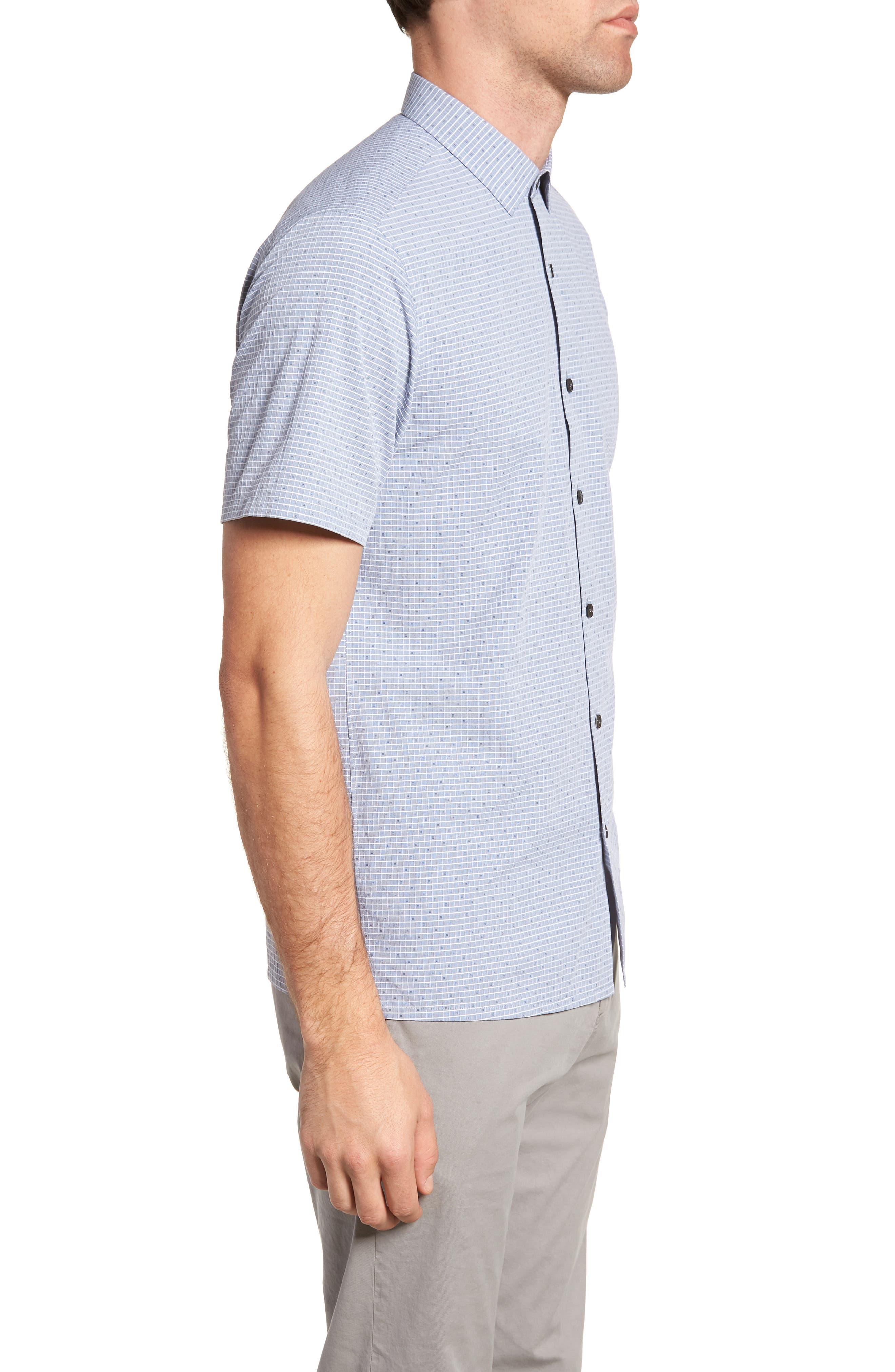 Murray Trim Fit Check Short Sleeve Sport Shirt,                             Alternate thumbnail 3, color,                             Eclipse Multi