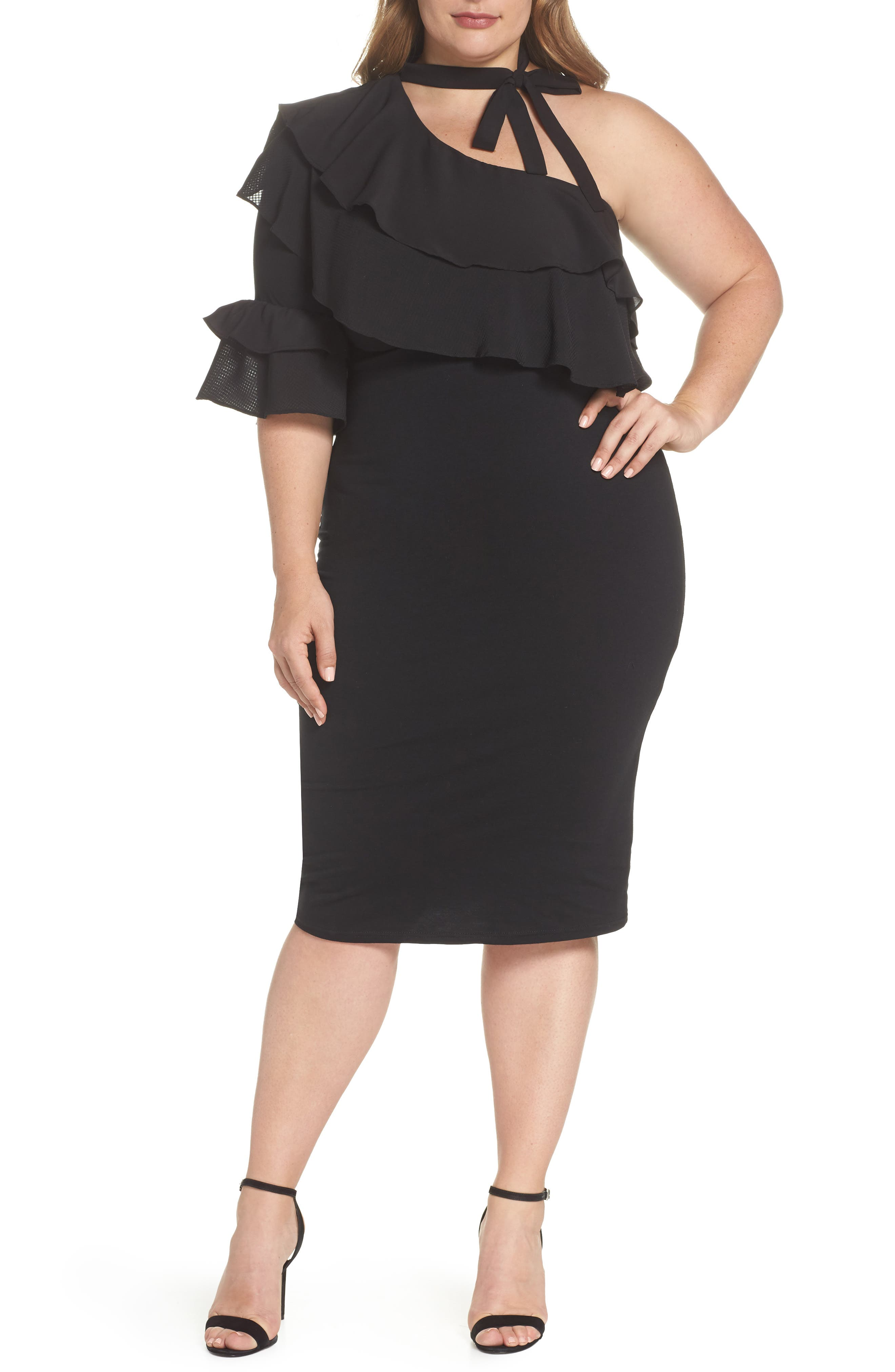 Lost Ink One-Shoulder Ruffle Dress (Plus Size)