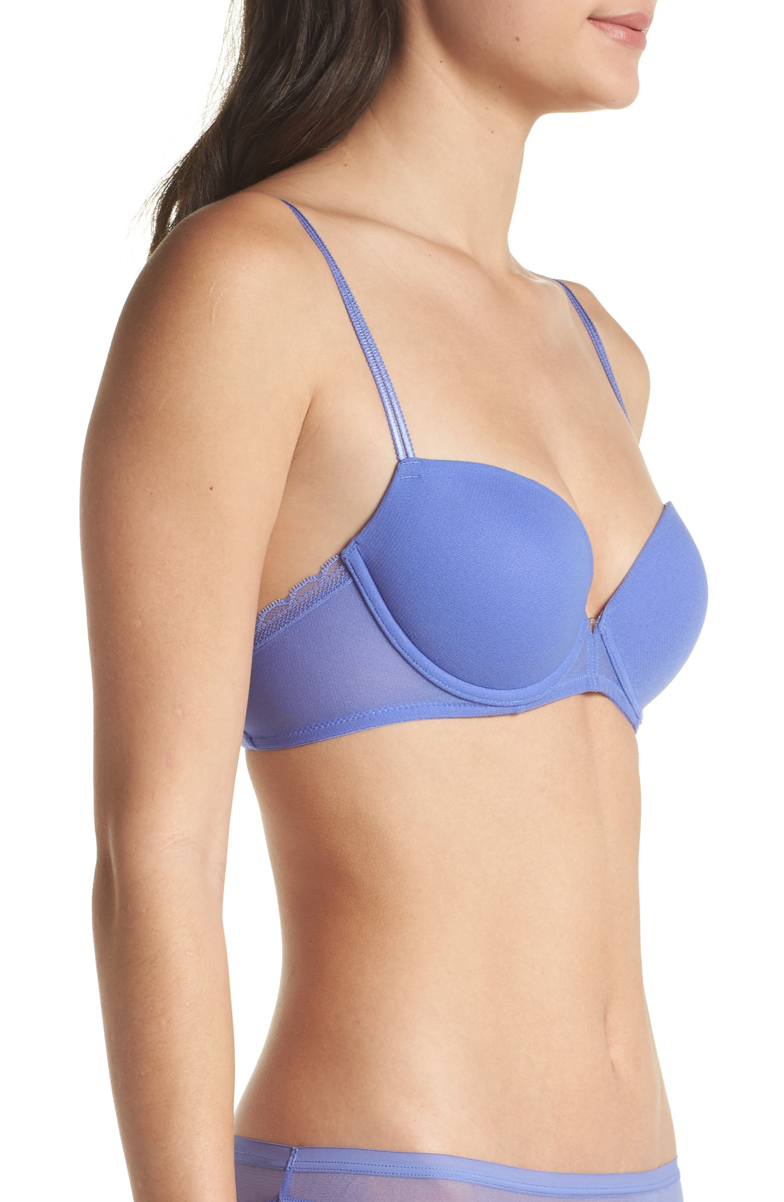 Next to Nothing Underwire Demi Plunge Bra,                             Alternate thumbnail 3, color,                             Surf