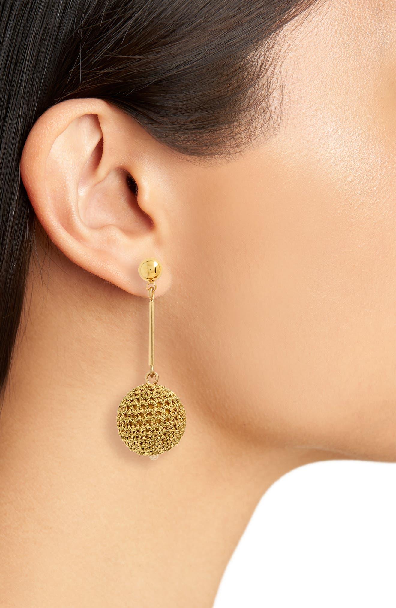 Crochet Ball Drop Earrings,                             Alternate thumbnail 2, color,                             Gold
