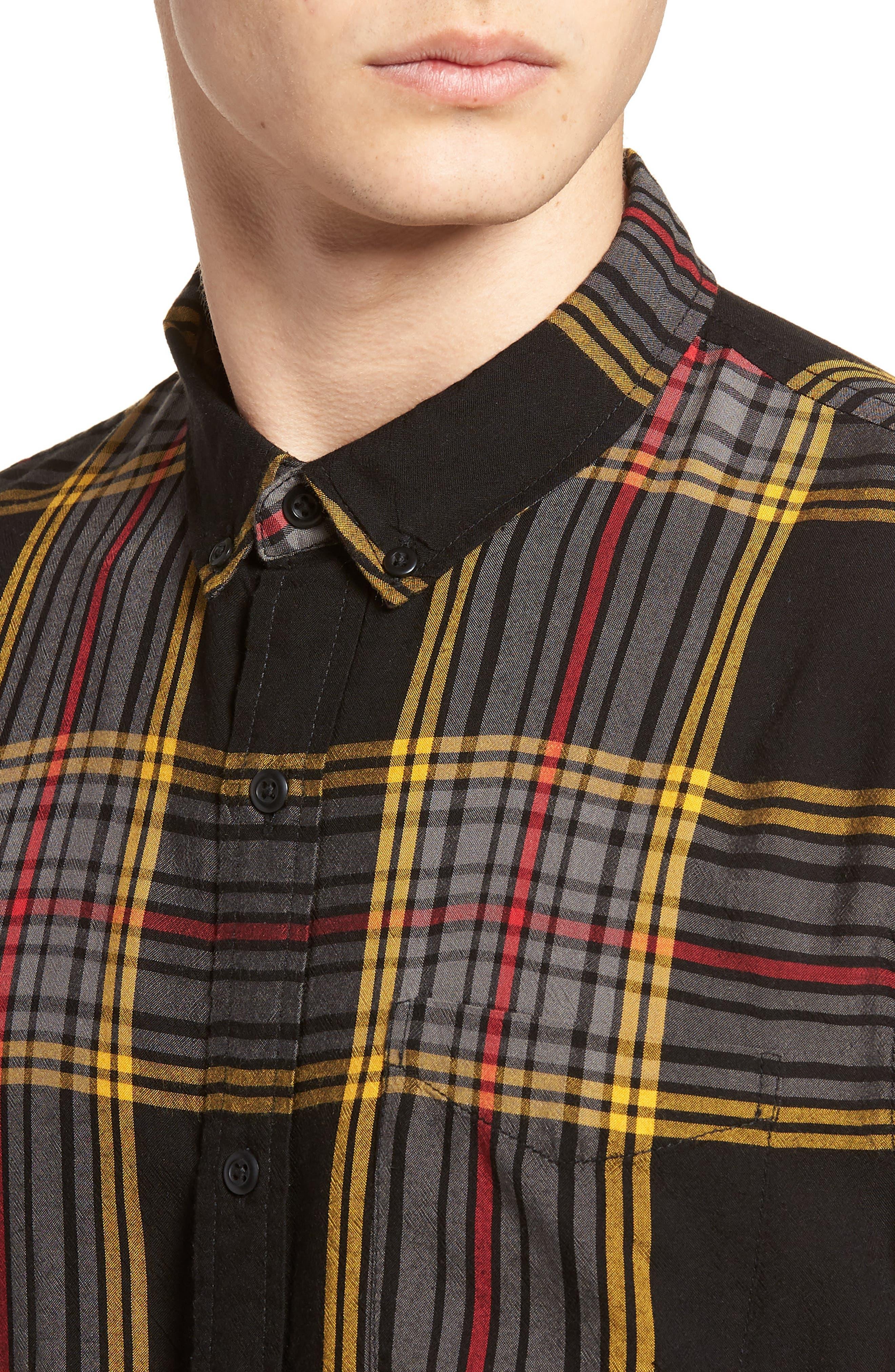 Yarn Dyed Plaid Shirt,                             Alternate thumbnail 2, color,                             Black Yellow Ethan Plaid