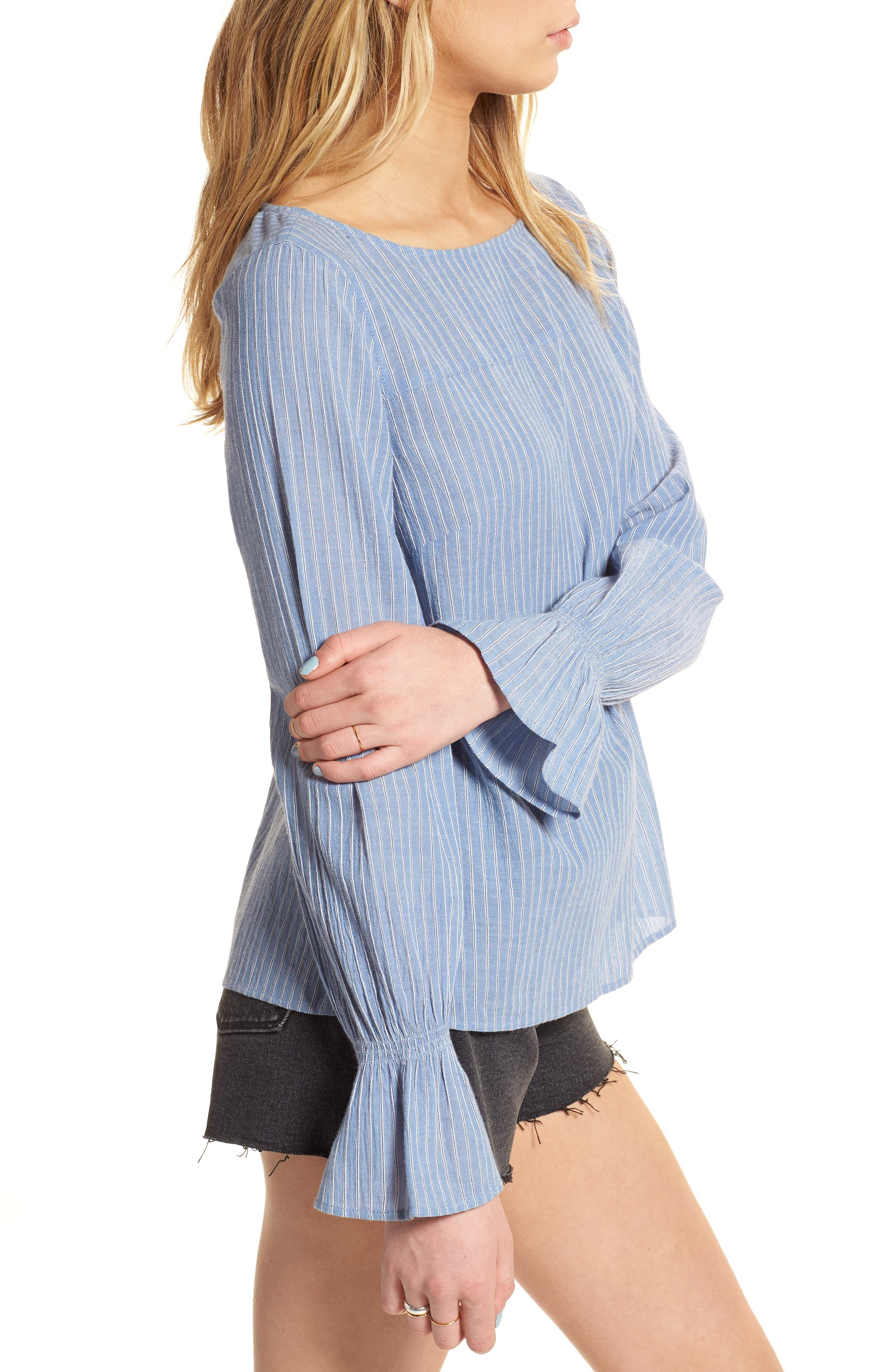 Tie Back Top,                             Alternate thumbnail 3, color,                             Blue Airy Stripe