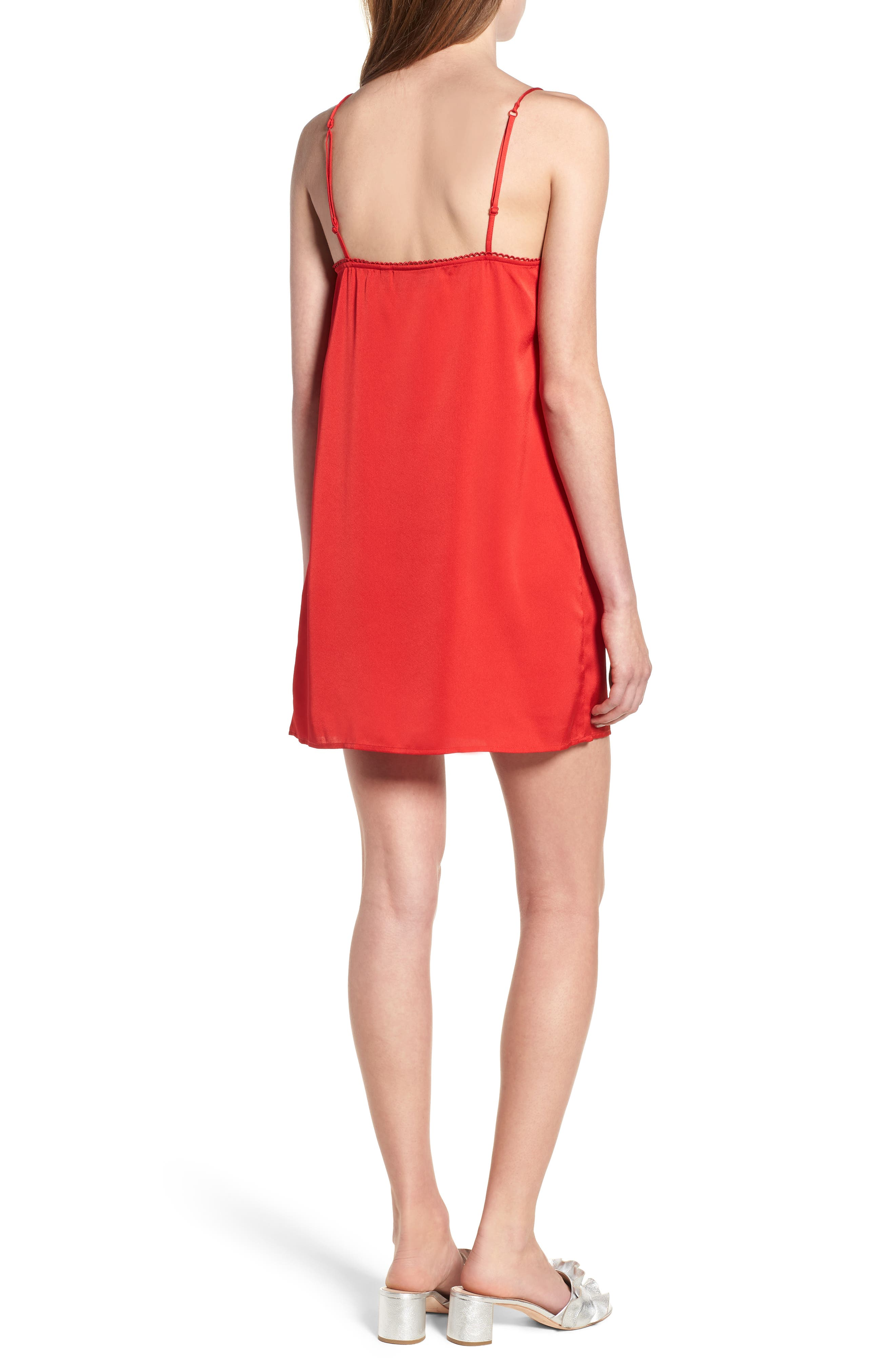 Moonlit Strappy Satin Swing Dress,                             Alternate thumbnail 2, color,                             Red