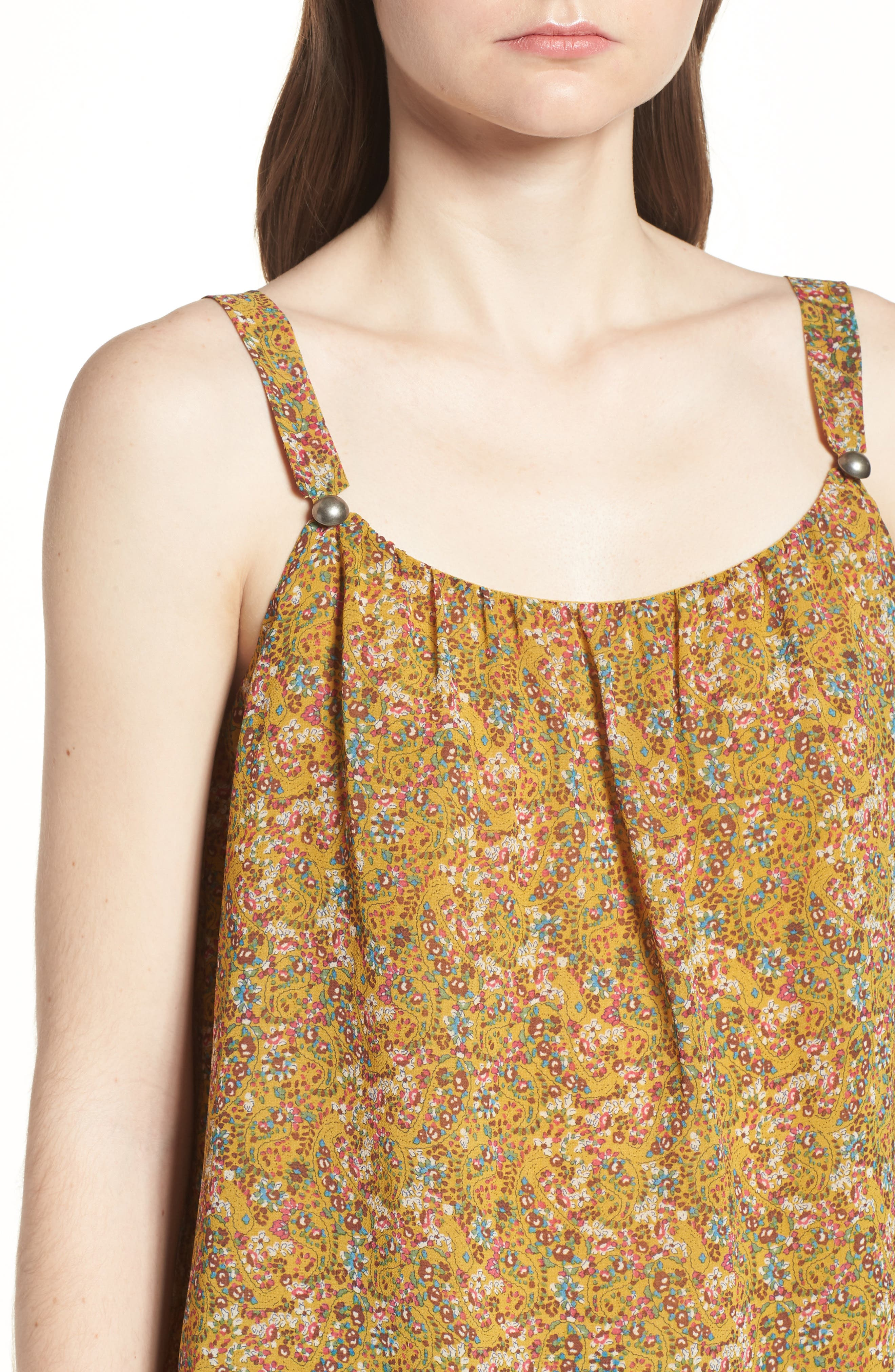 Madison Floral Top,                             Alternate thumbnail 4, color,                             Yellow Multi