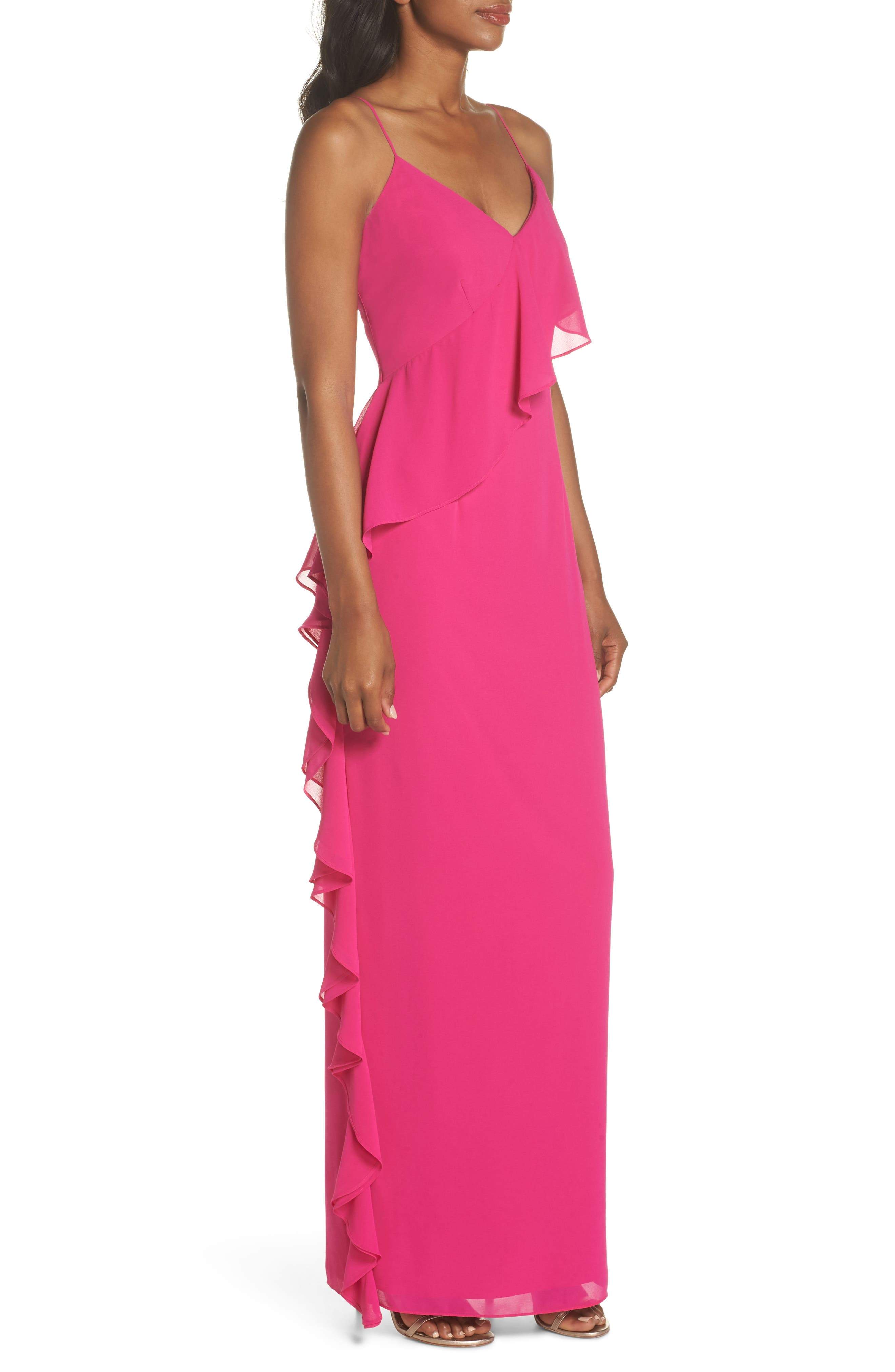 Asymmetrical Ruffle Column Gown,                             Alternate thumbnail 3, color,                             Fuchsia