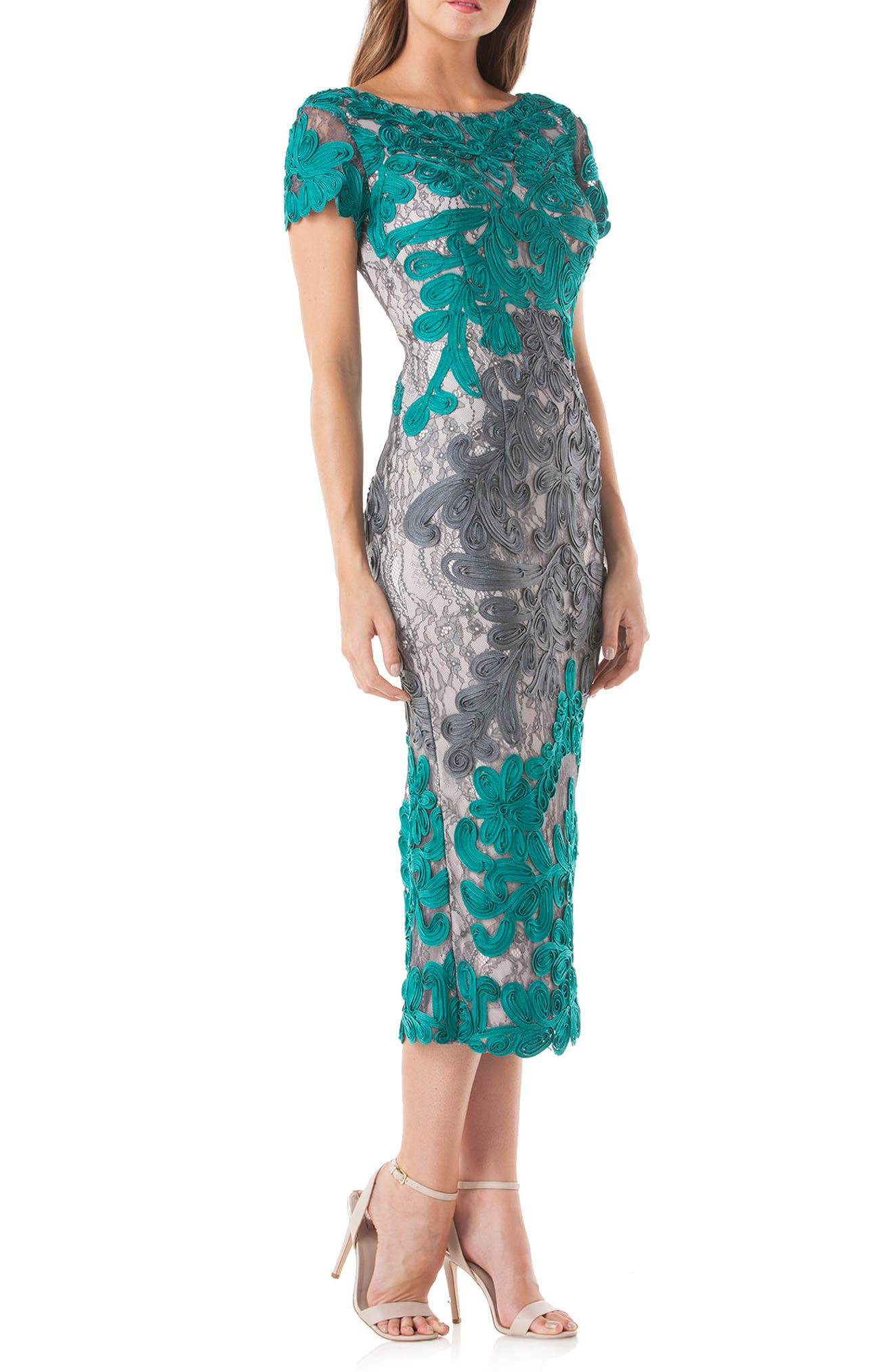 Soutache Lace Midi Dress,                             Main thumbnail 1, color,                             Teal/ Grey