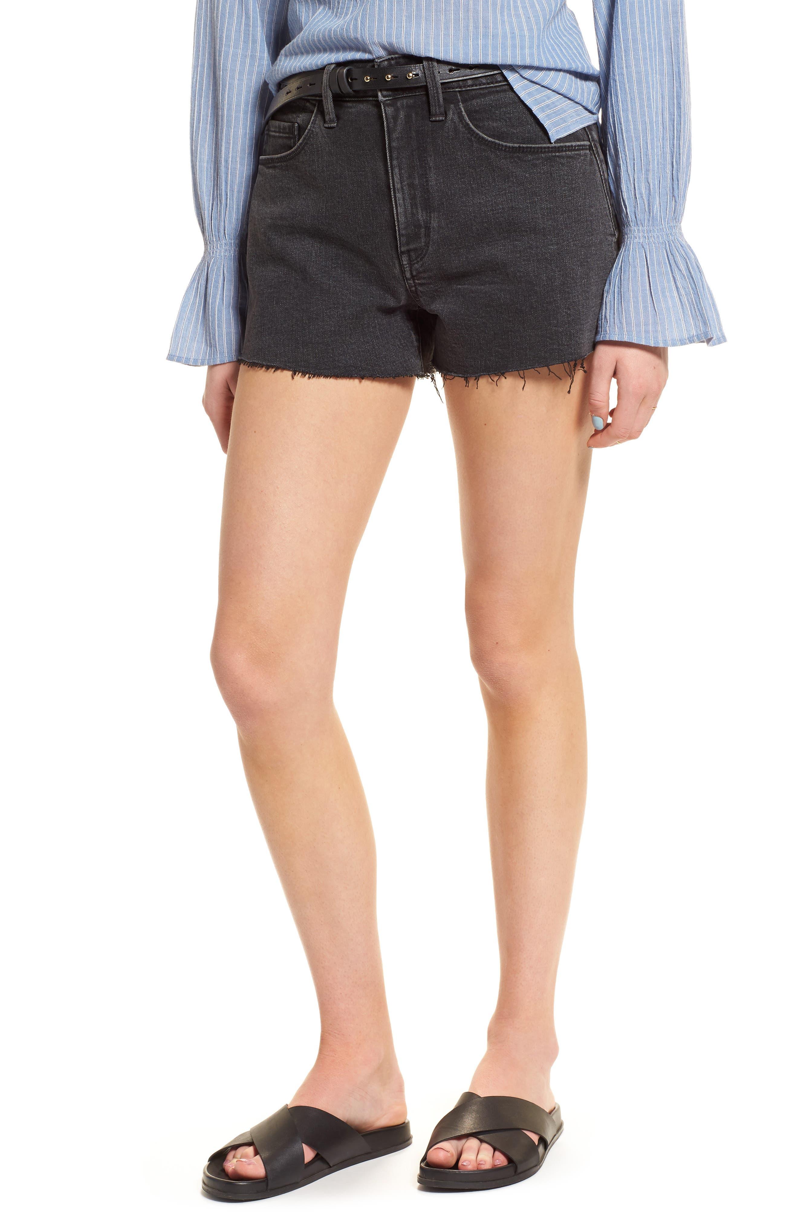 Foster High Waist Cutoff Boyfriend Denim Shorts,                         Main,                         color, Blacktop Dark