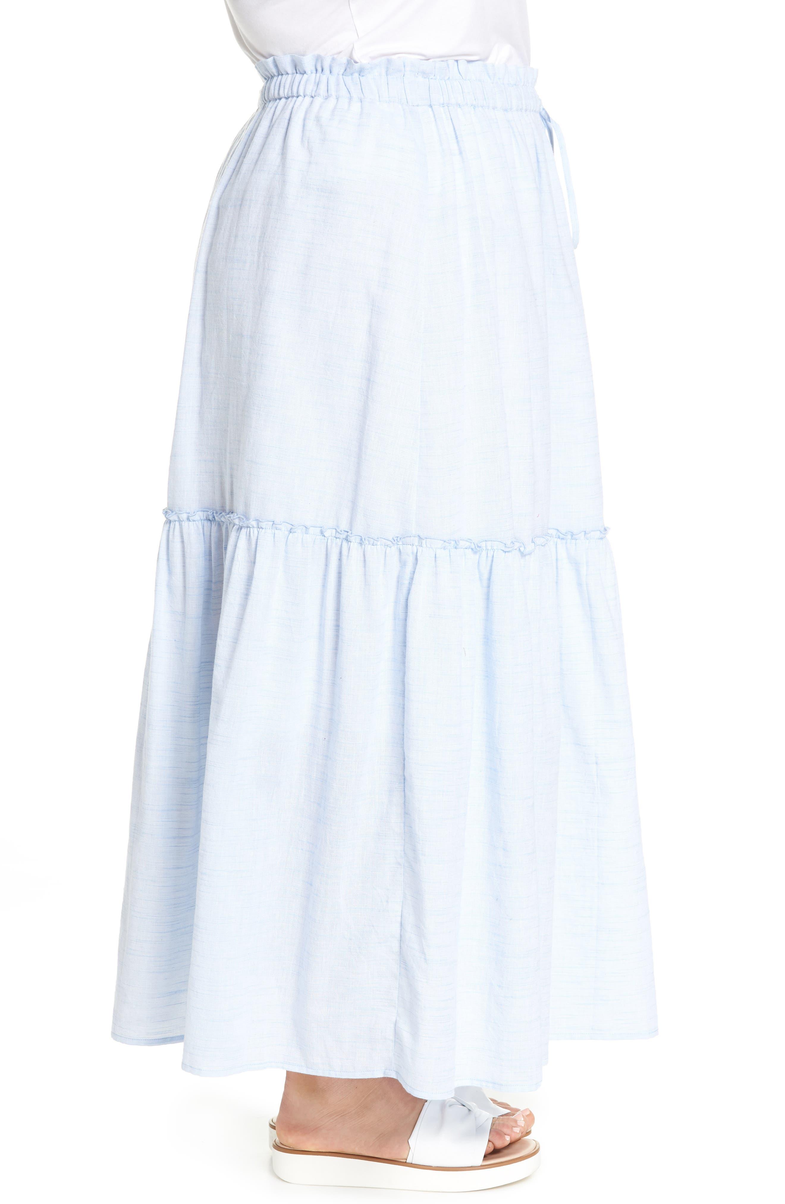 Ruffle Hem Maxi Skirt,                             Alternate thumbnail 3, color,                             Blue- White Pattern