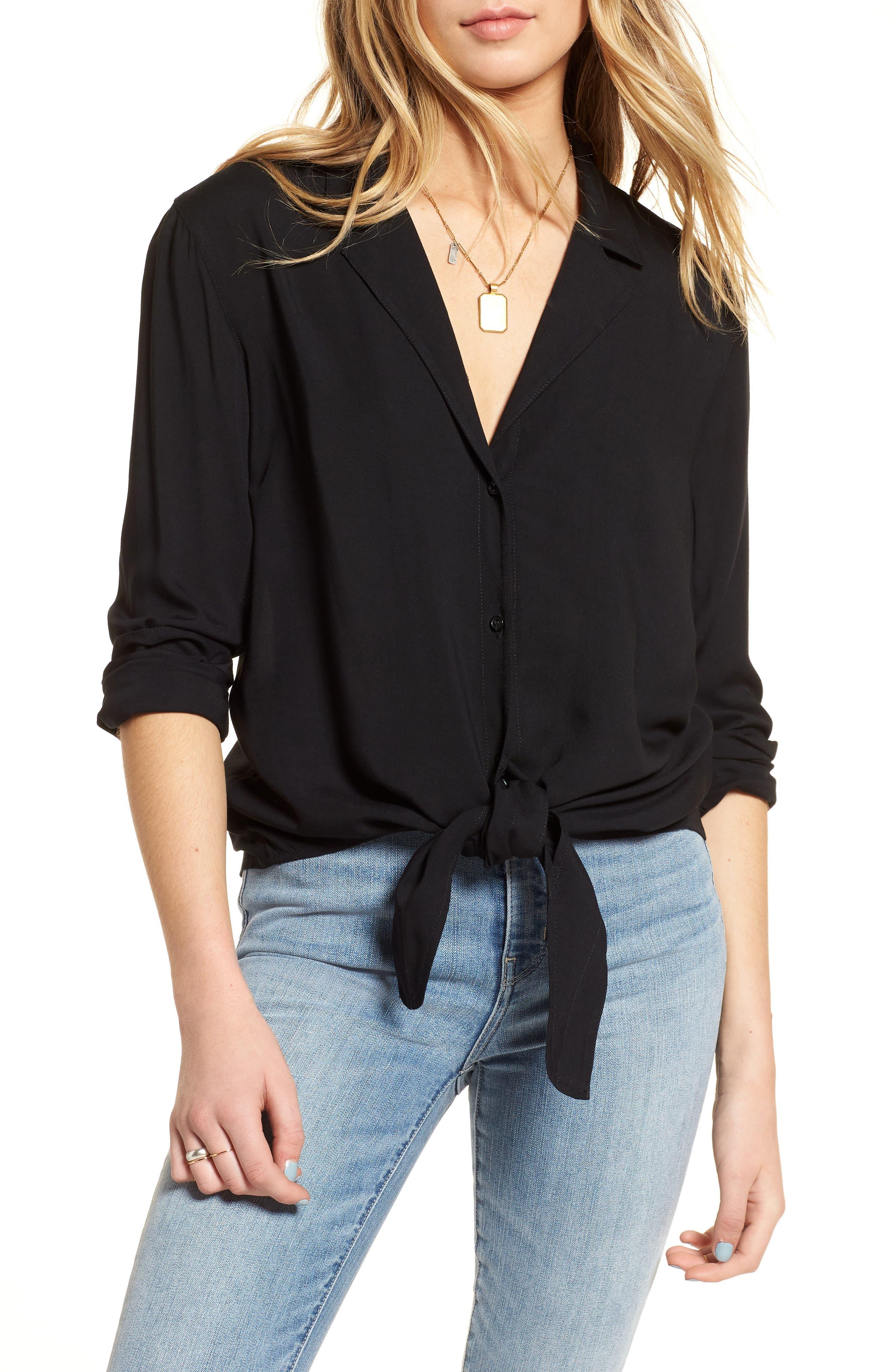 Tie Front Shirt,                         Main,                         color, Black