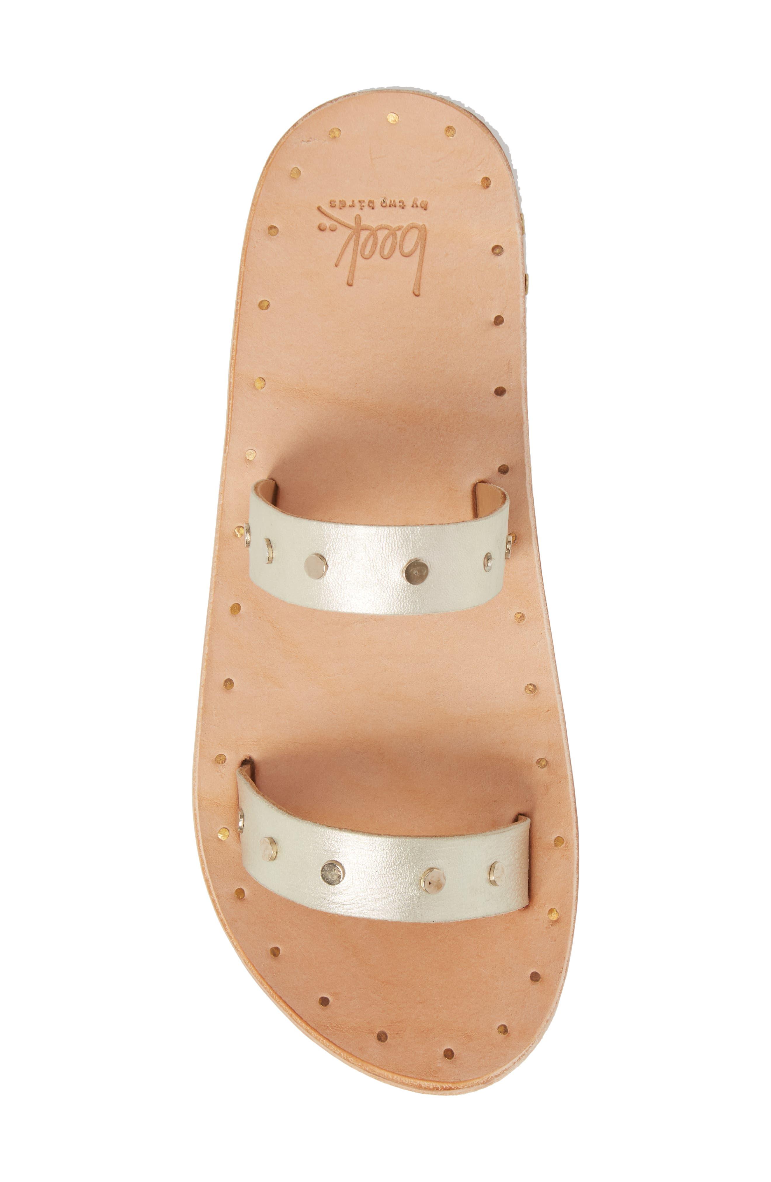 Woodpecker Studded Slide Sandal,                             Alternate thumbnail 5, color,                             Platinum Gold/ Nat