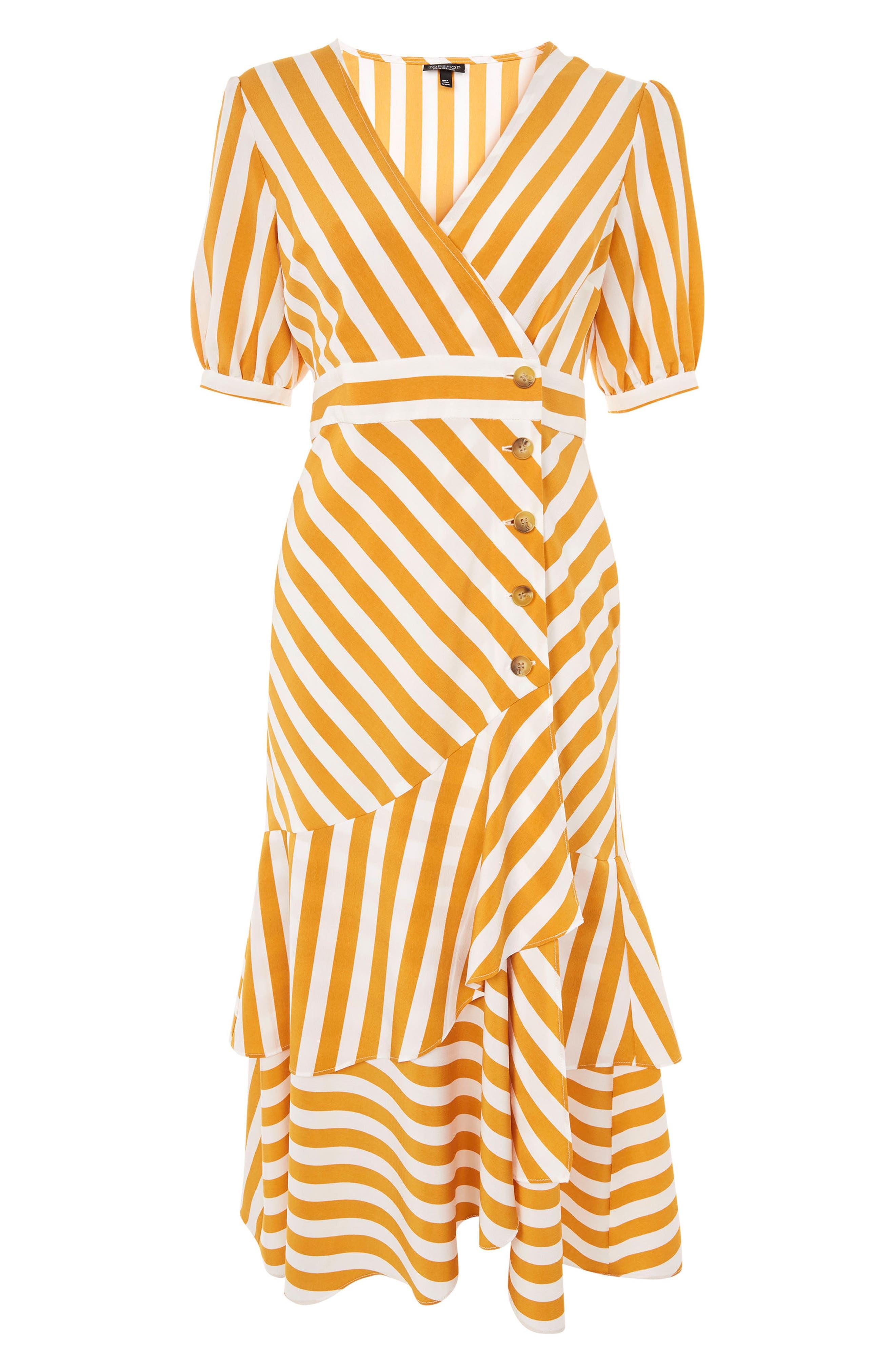 Cutabout Stripe Ruffle Midi Dress,                             Alternate thumbnail 4, color,                             Yellow Multi