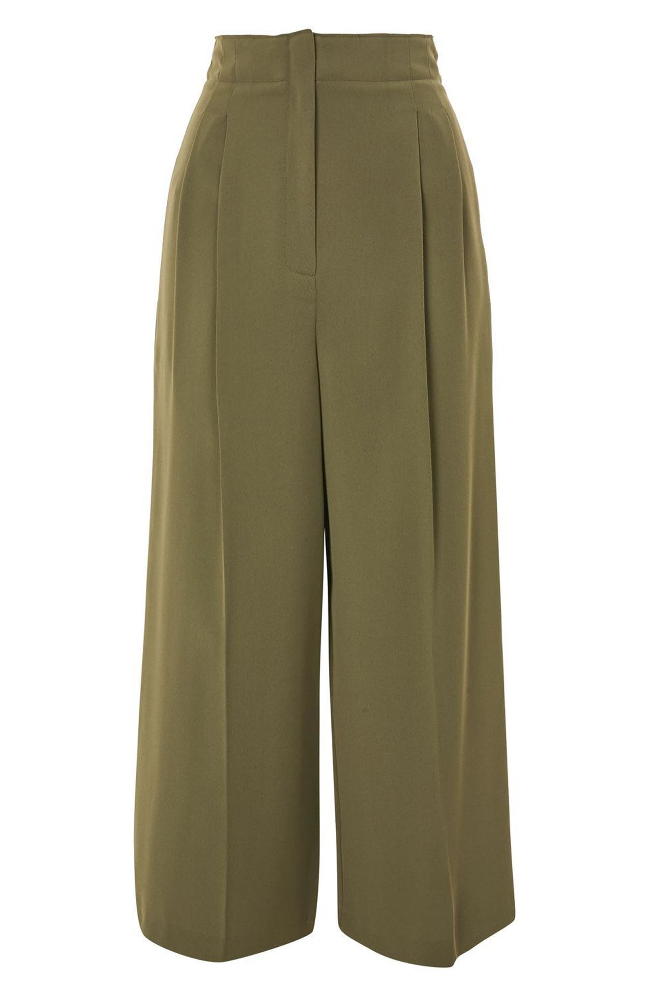 Wide Crop Utility Trousers,                             Alternate thumbnail 4, color,                             Olive