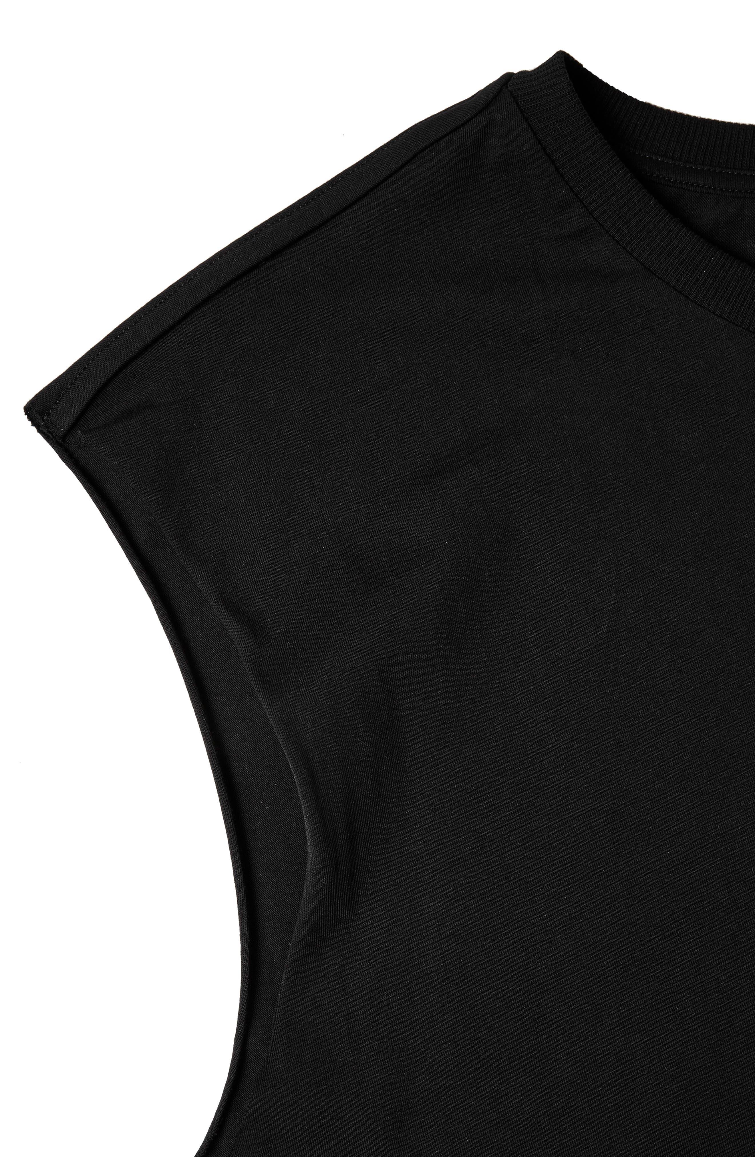 Raw Sleeve Top,                             Alternate thumbnail 2, color,                             Black