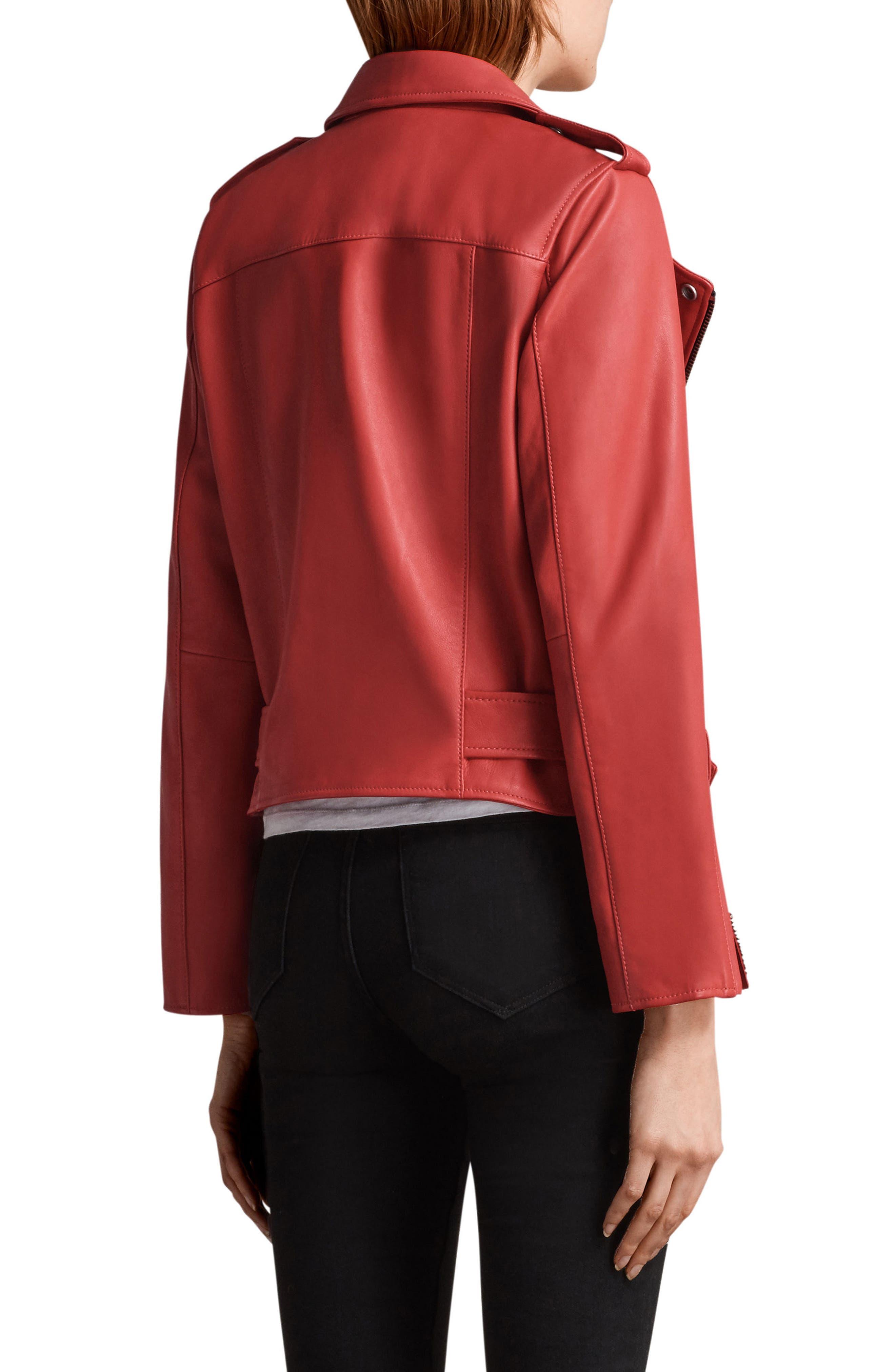 Balfern Leather Biker Jacket,                             Alternate thumbnail 3, color,                             Coral Red