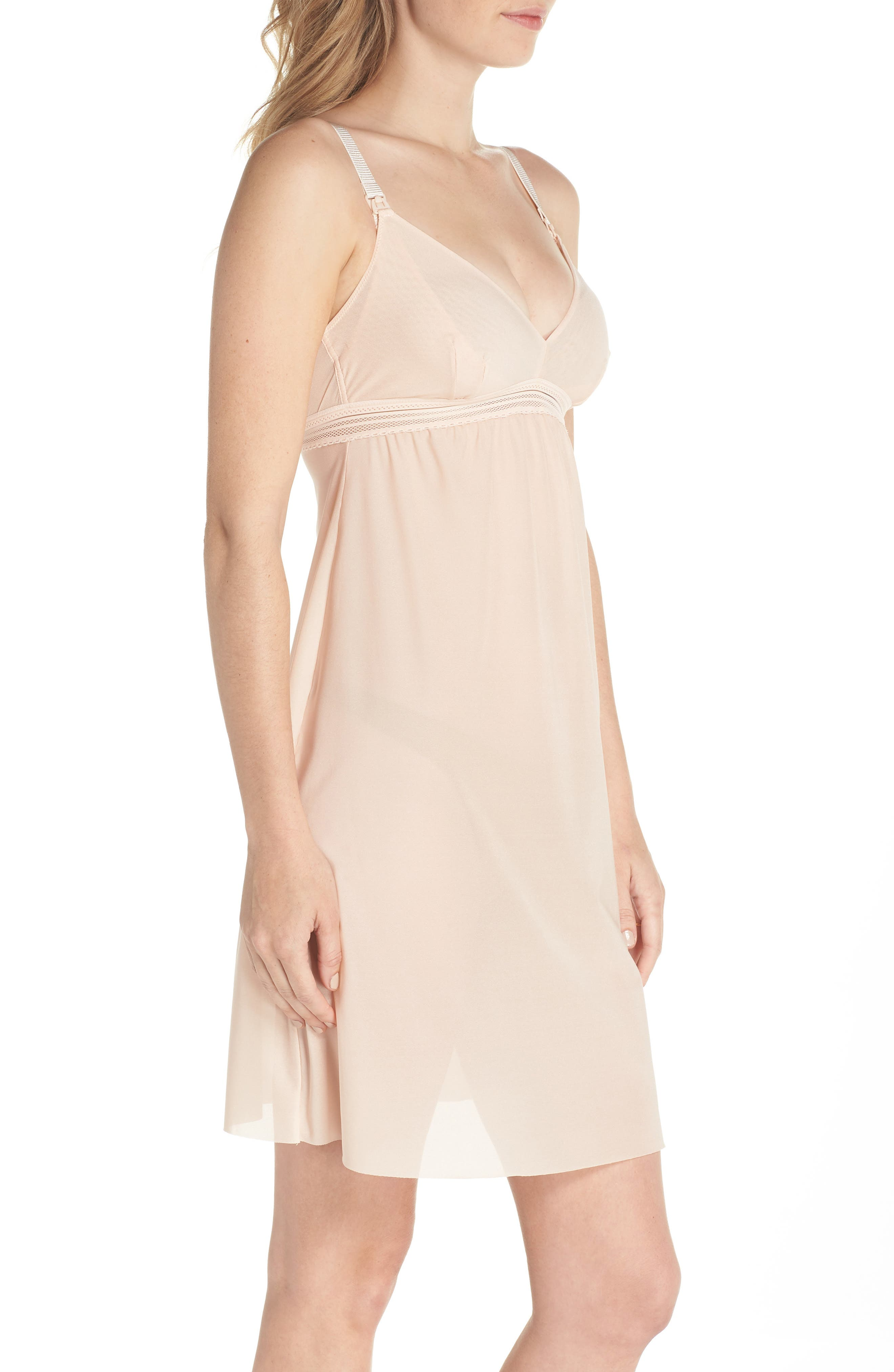 Laced In Aire Chemise,                             Alternate thumbnail 3, color,                             Nude Rose