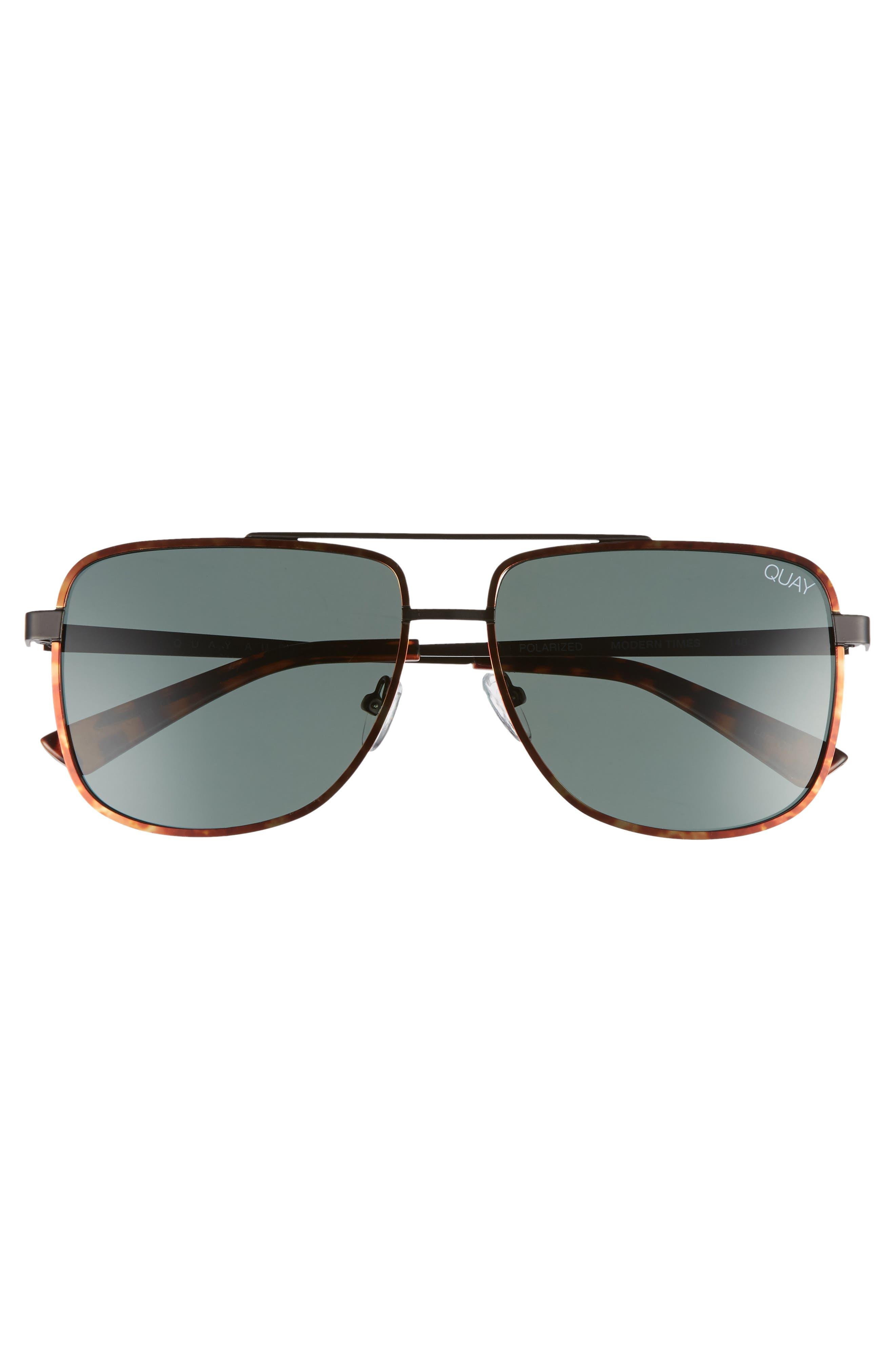 Modern Times 57mm Polarized Aviator Sunglasses,                             Alternate thumbnail 2, color,                             Tort / Green Lens