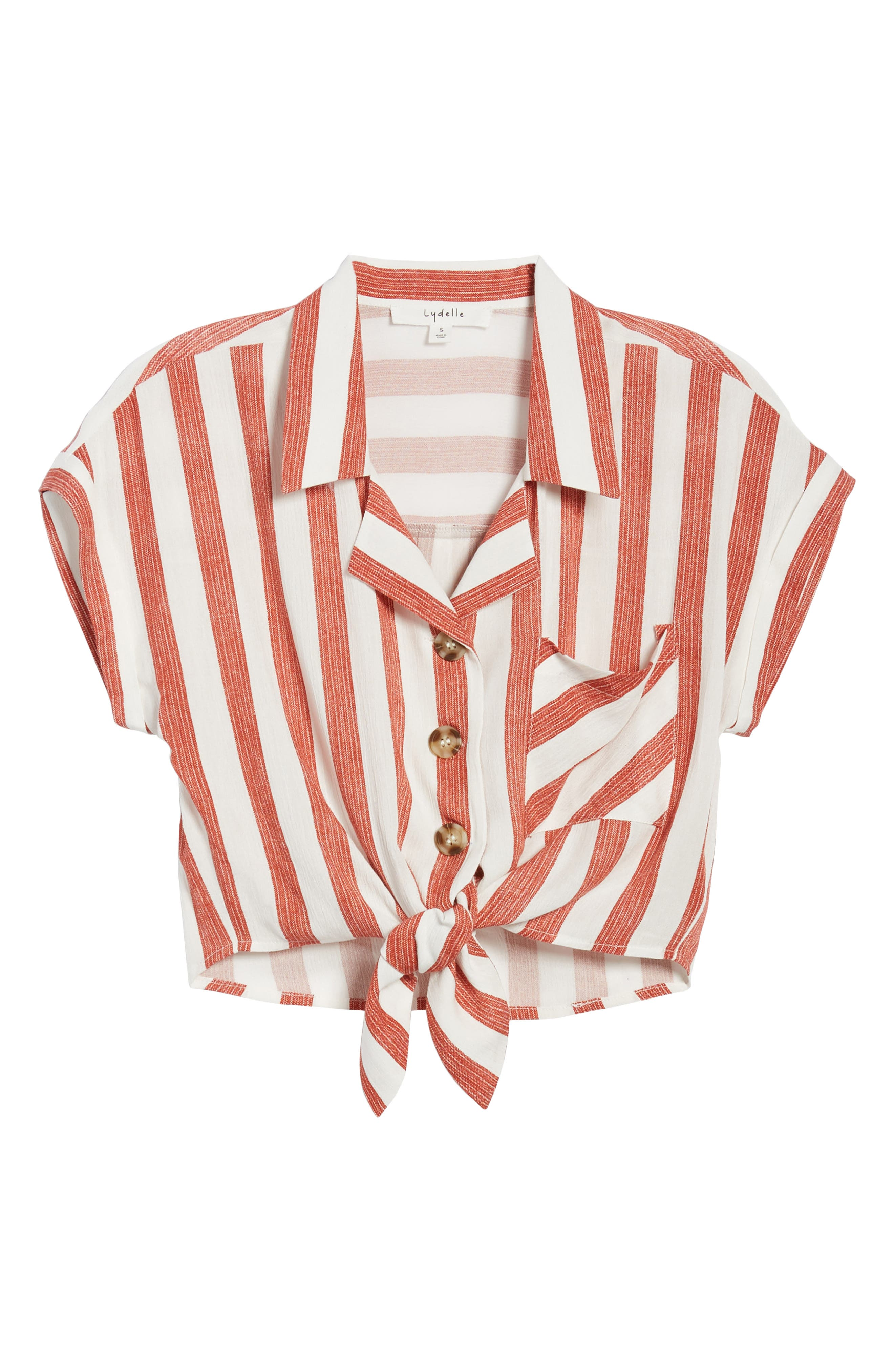 Stripe Tie Front Top,                             Alternate thumbnail 8, color,                             Red/ Ivory