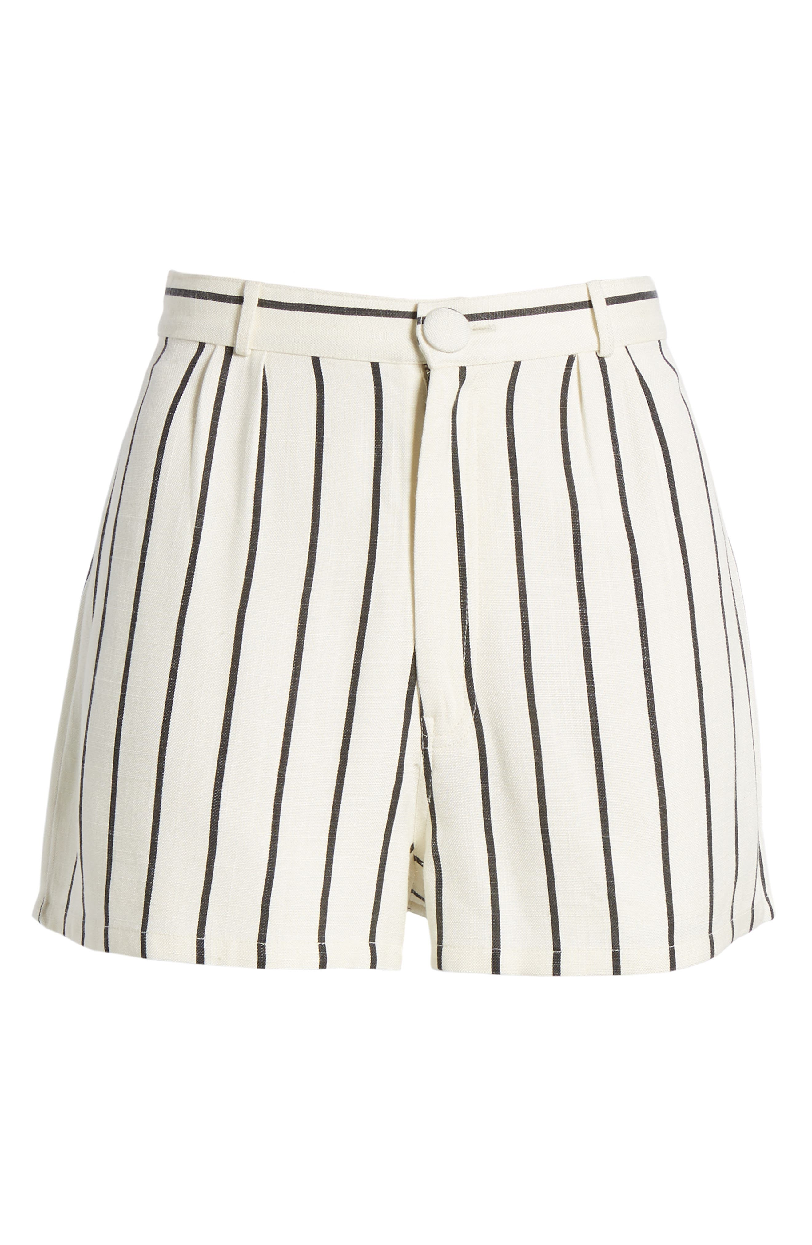 Jordy Stripe High Waist Shorts,                             Alternate thumbnail 8, color,                             Natural And Black