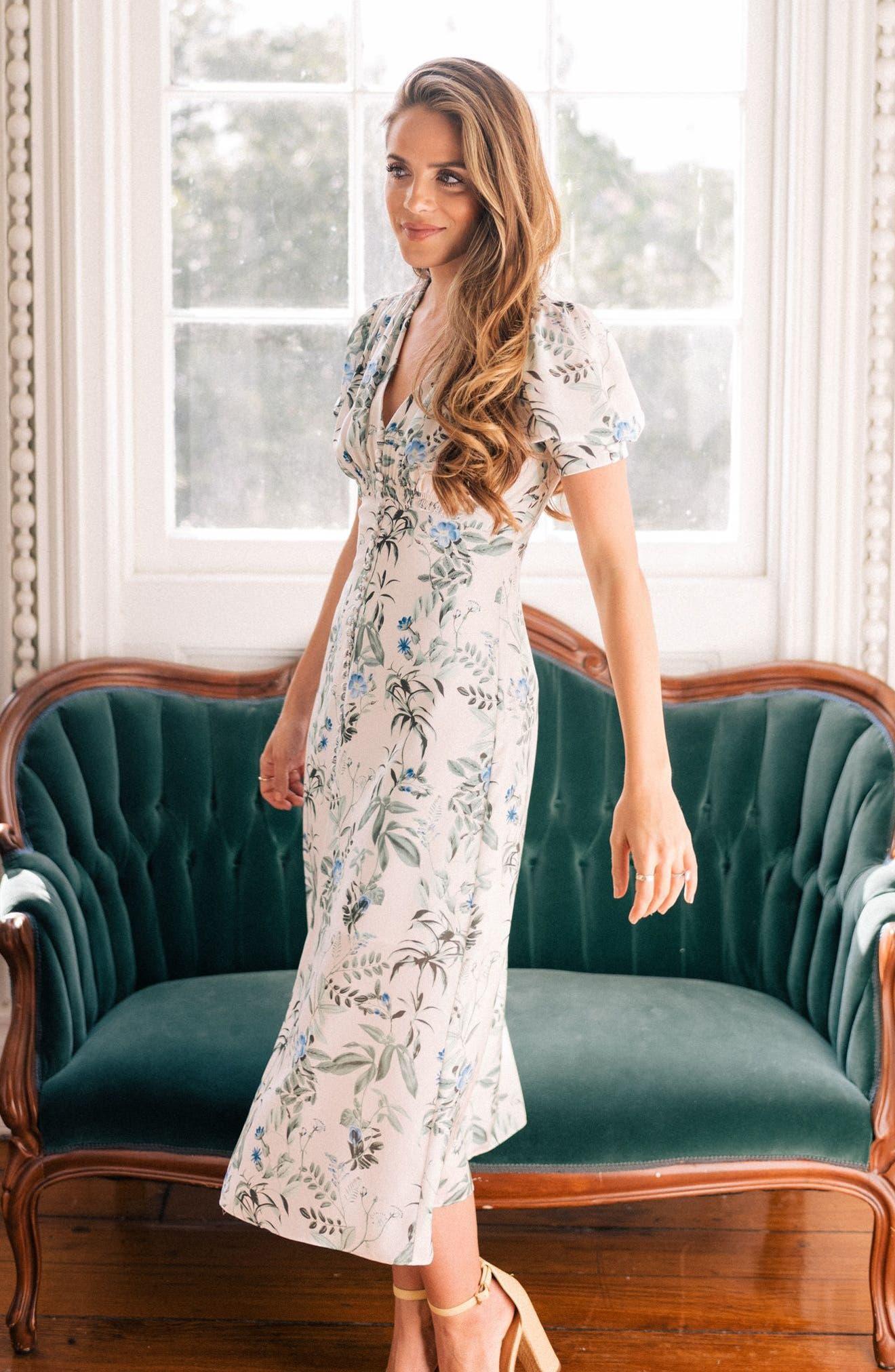 Lauren Botanical Garden Print Midi Dress,                             Alternate thumbnail 2, color,                             Bone/ Blue