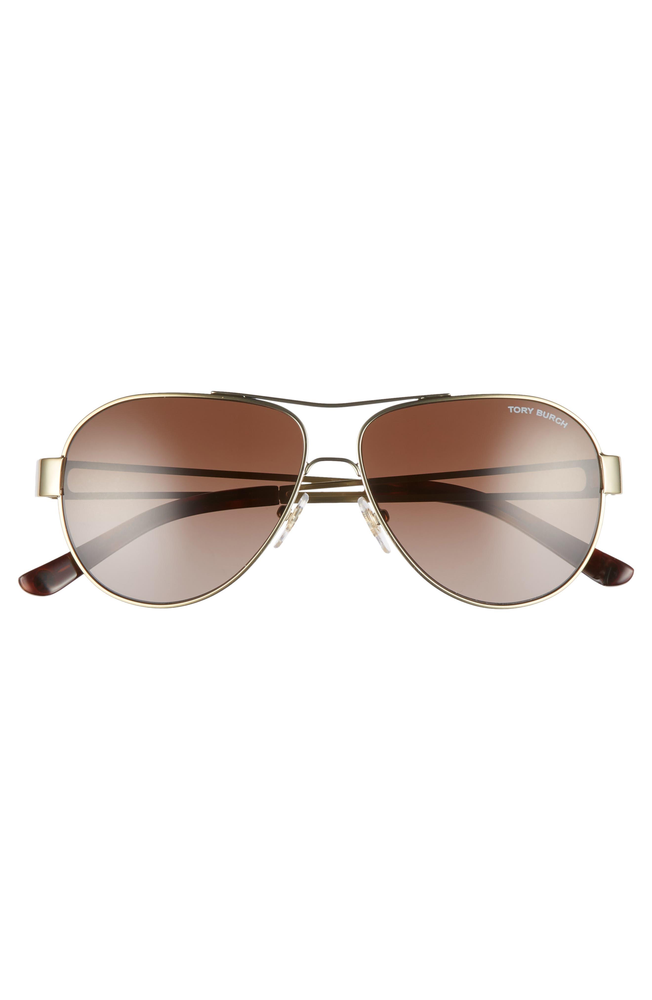 55mm Polarized Aviator Sunglasses,                             Alternate thumbnail 3, color,                             Gold/ Dark Tortoise Gradient