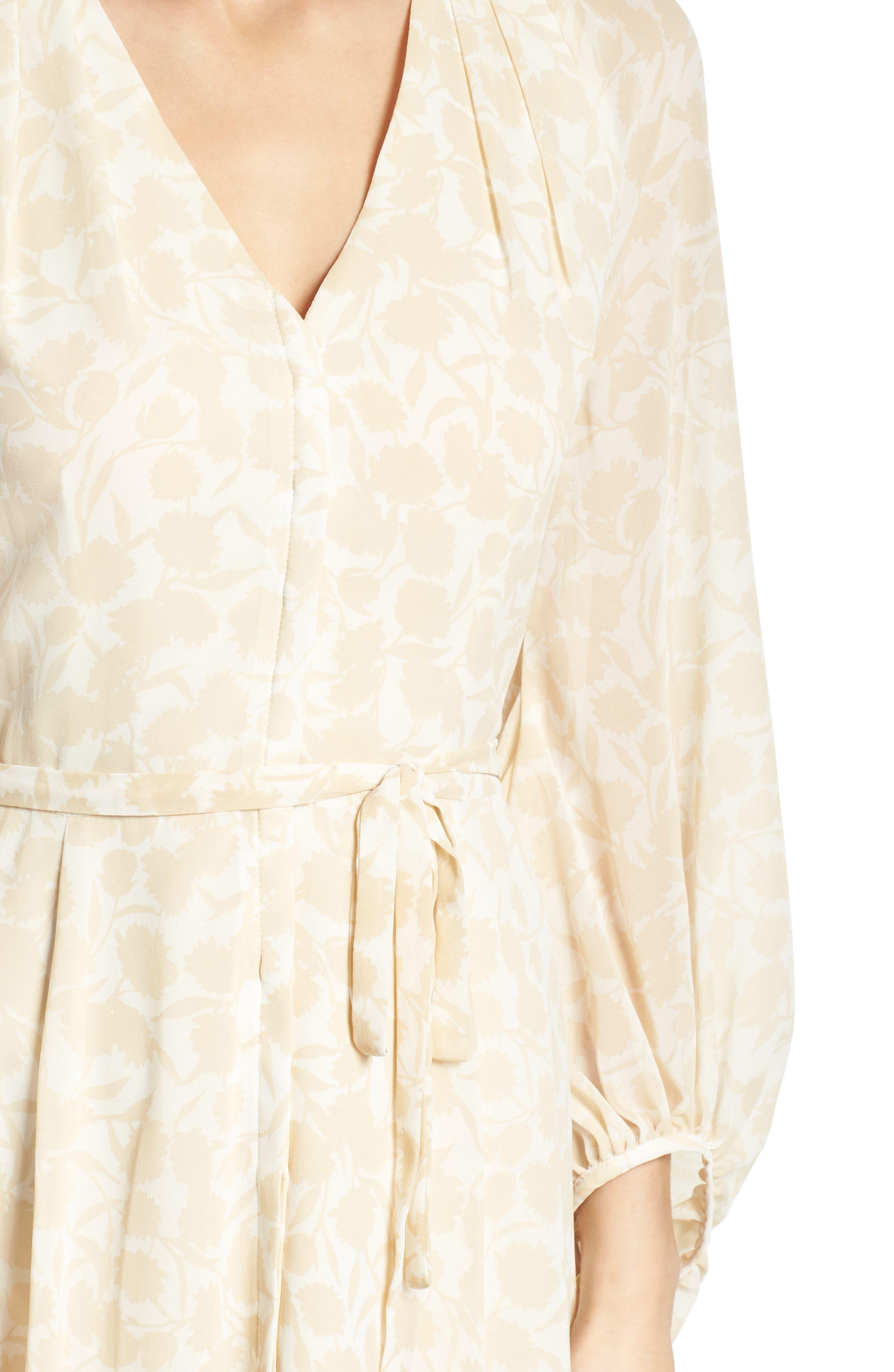 Esther Shadow Branch Chiffon Dress,                             Alternate thumbnail 6, color,                             Cream Combo