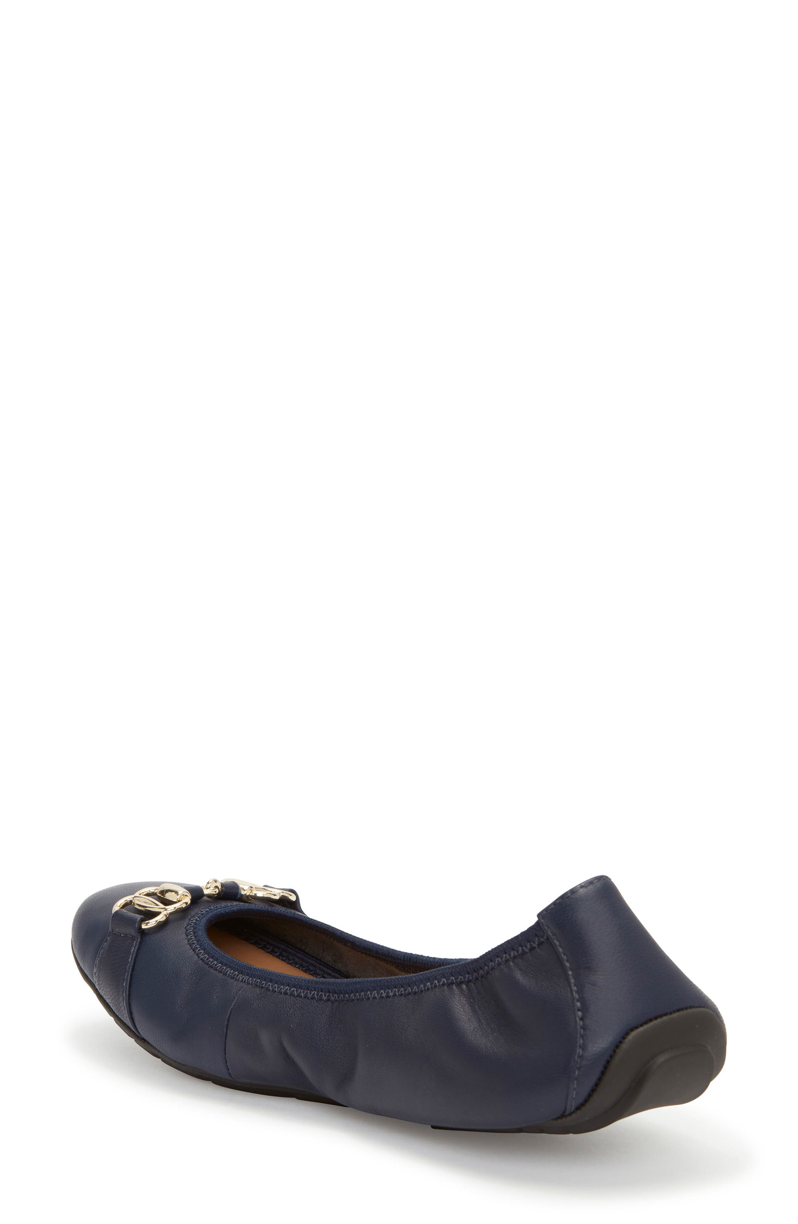 Olympia Skimmer Flat,                             Alternate thumbnail 2, color,                             Navy Leather