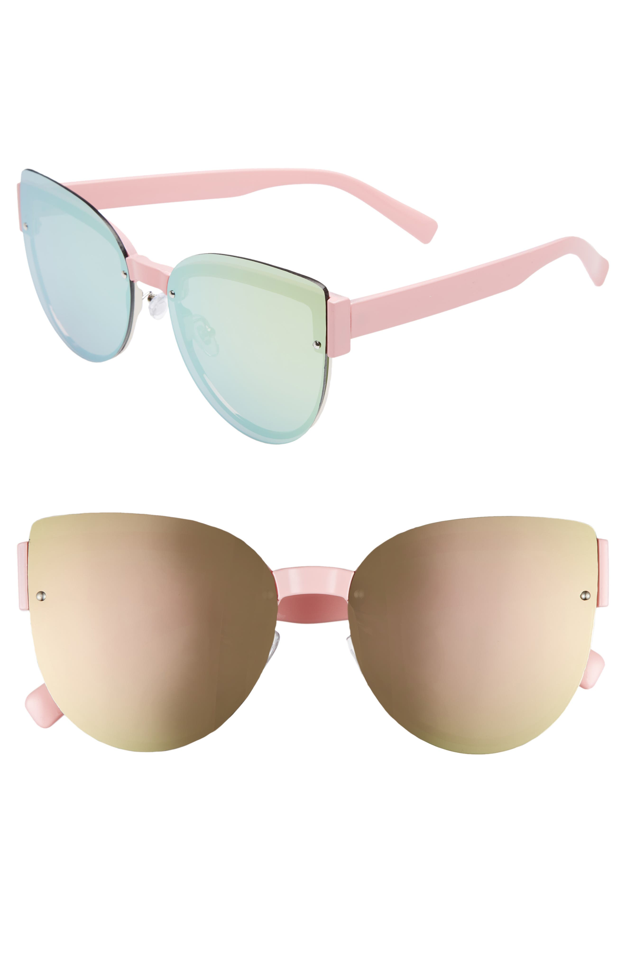 62mm Oversize Rimless Cat Eye Sunglasses,                         Main,                         color, Pink