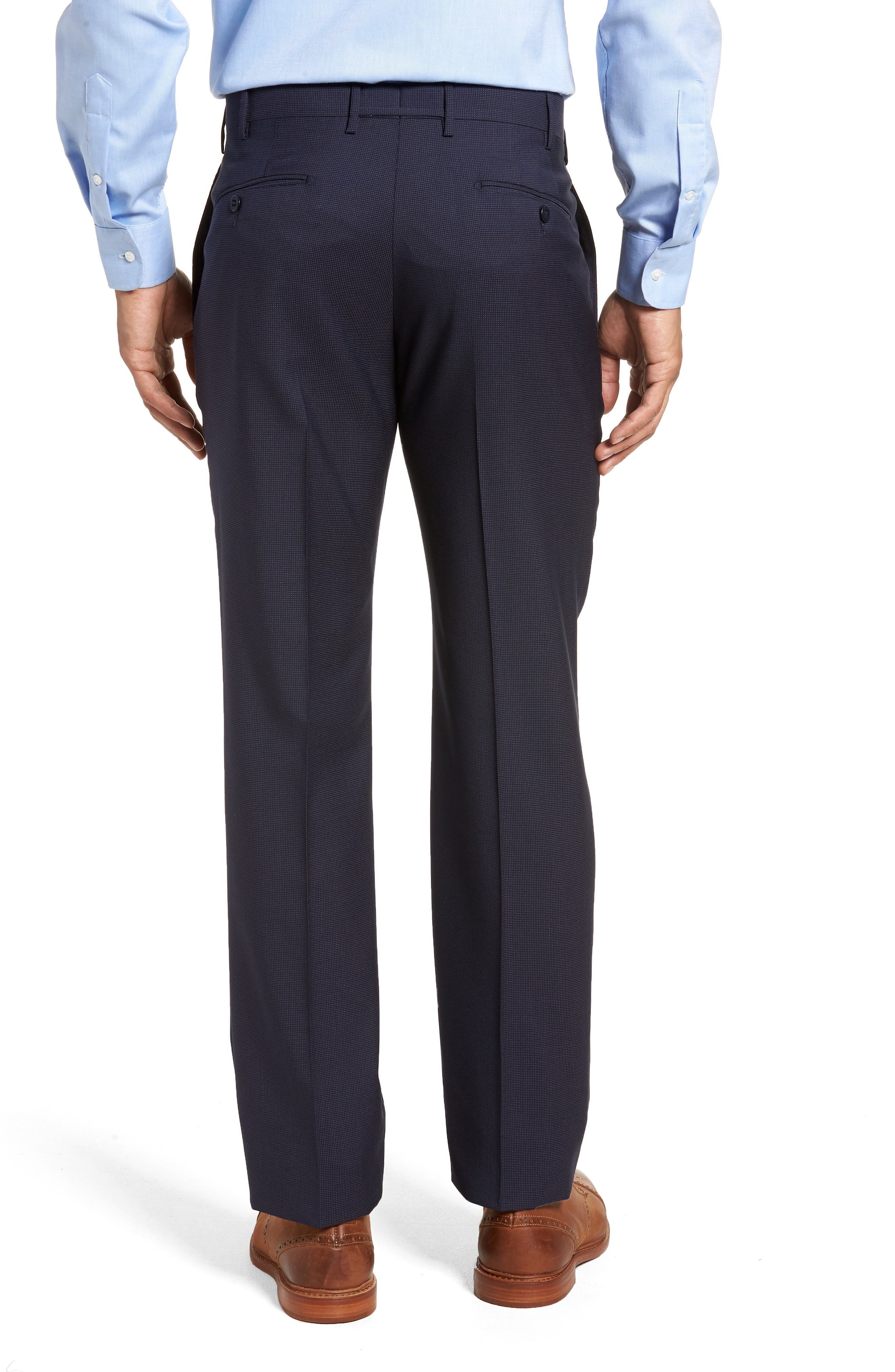 Parker Flat Front Pindot Wool Trousers,                             Alternate thumbnail 2, color,                             Navy