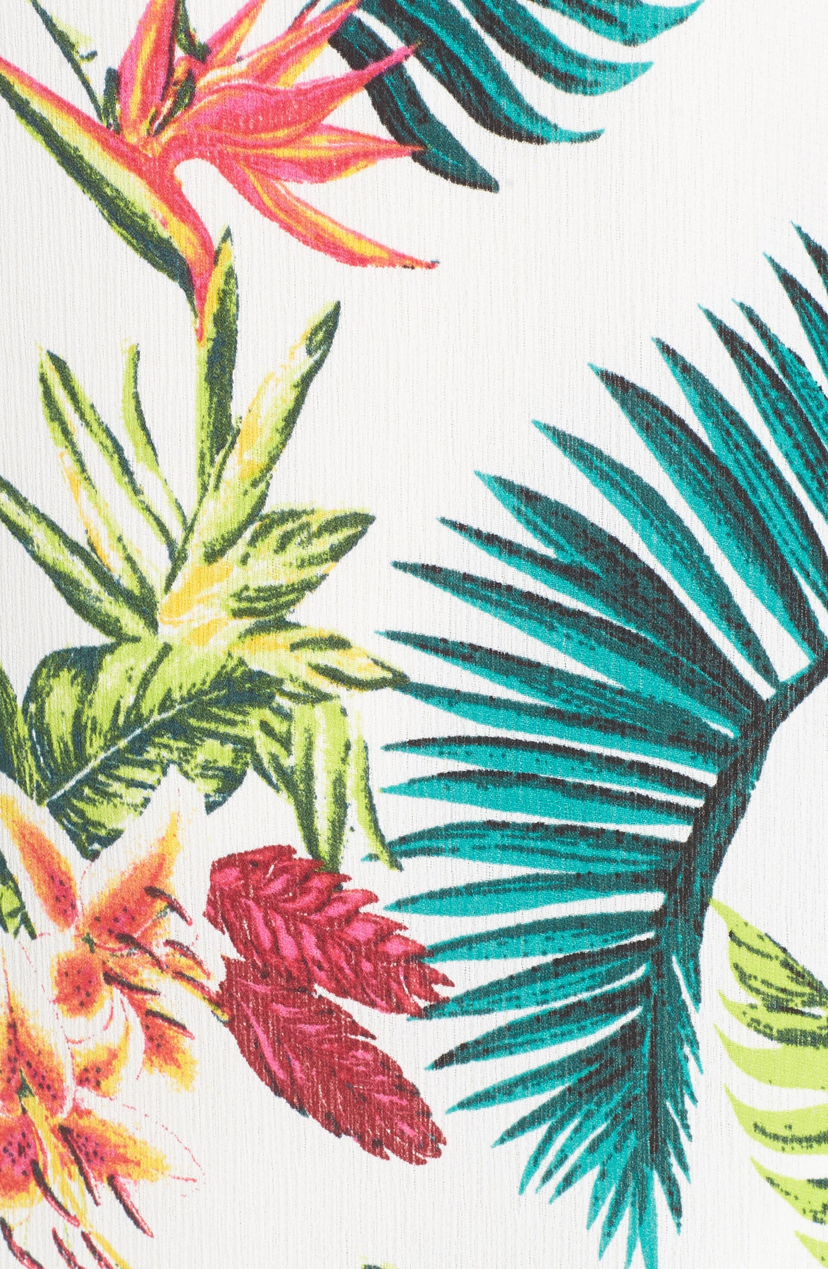 Strappy Floral Print Midi Dress,                             Alternate thumbnail 6, color,                             Cream/ Fuchsia