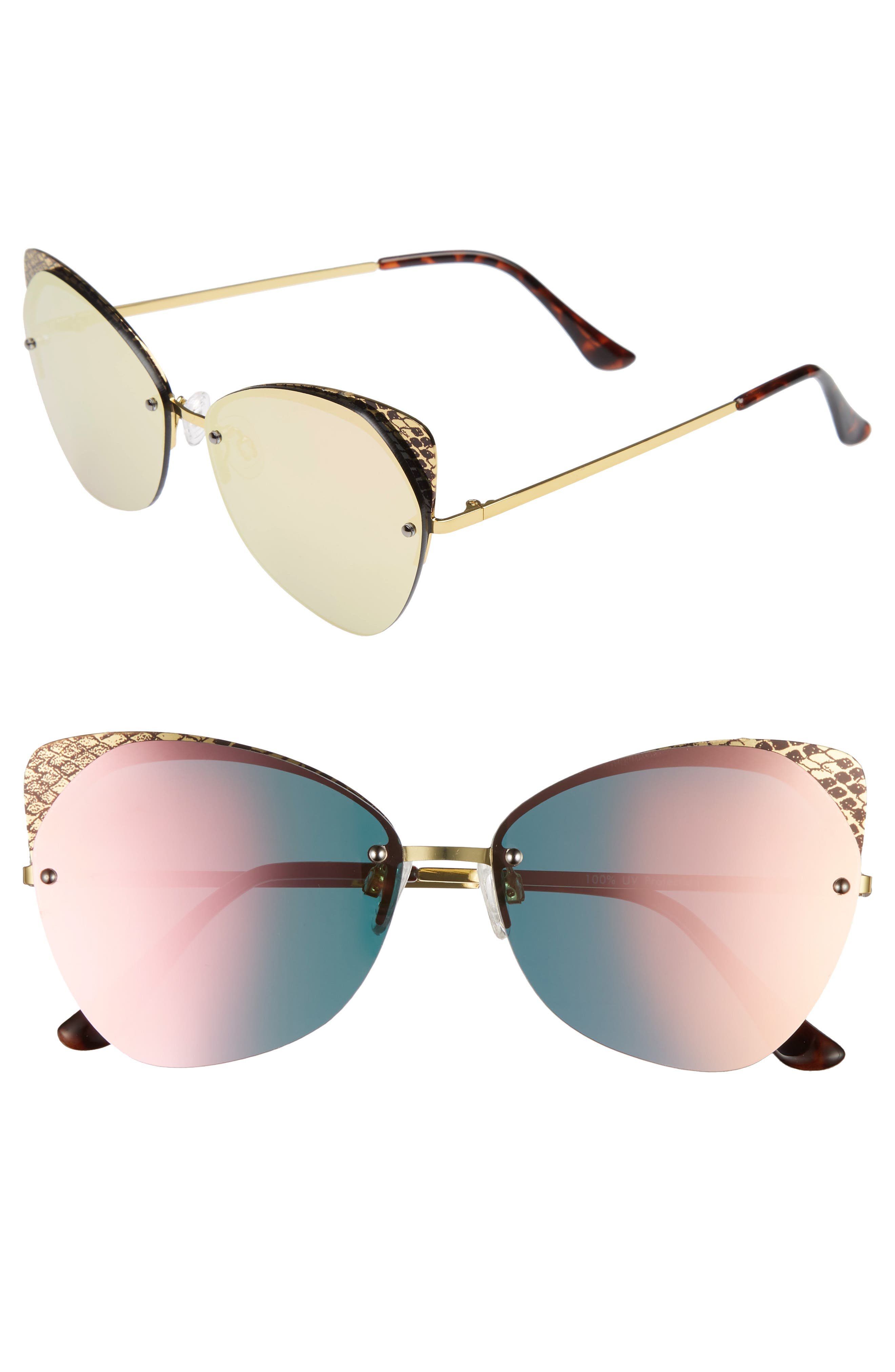 59mm Snakeskin Accent Rimless Cat Eye Sunglasses,                             Main thumbnail 1, color,                             Snake Pink