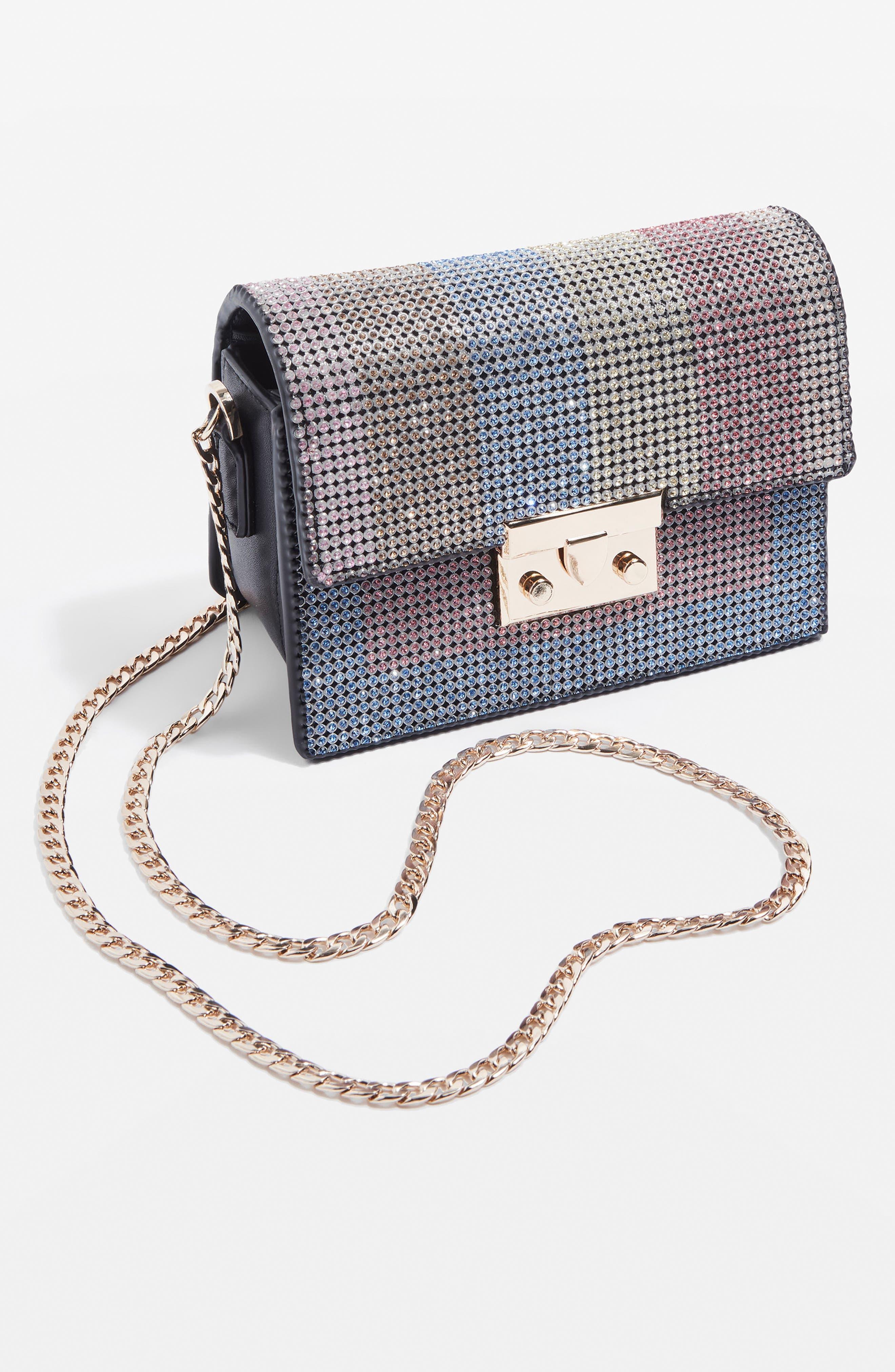 Rosie Diamante Rainbow Crossbody Bag,                             Alternate thumbnail 9, color,                             Black Multi