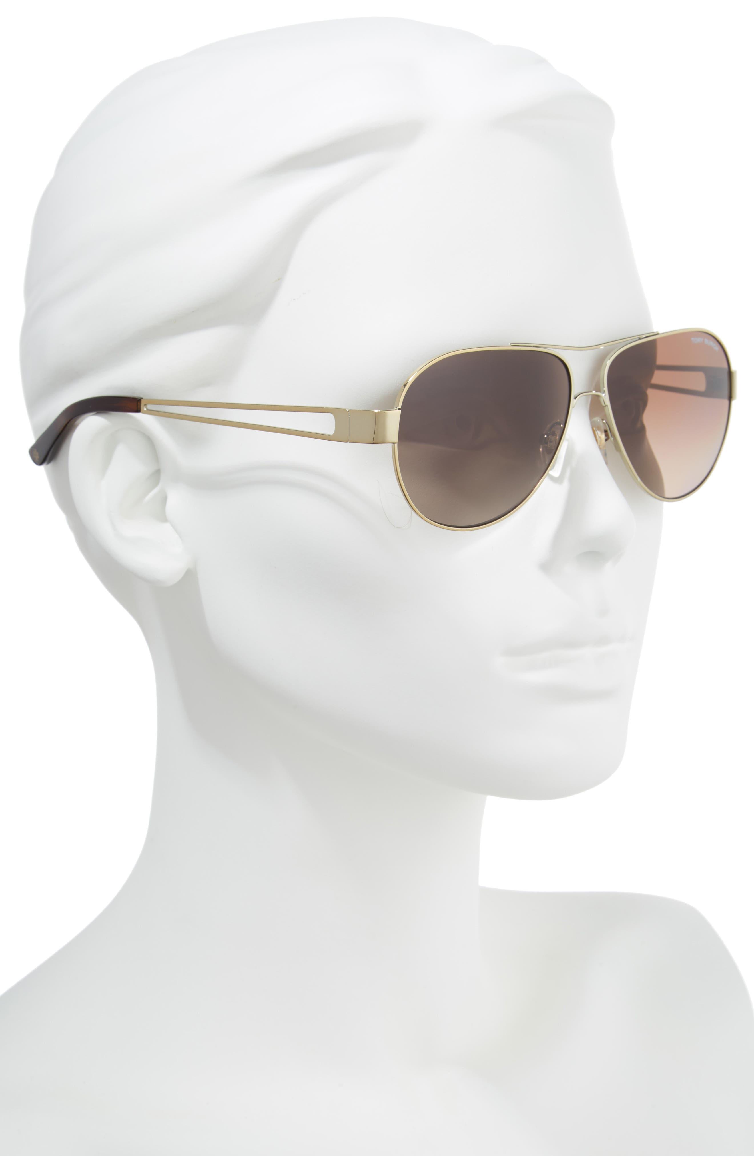55mm Polarized Aviator Sunglasses,                             Alternate thumbnail 2, color,                             Gold/ Dark Tortoise Gradient