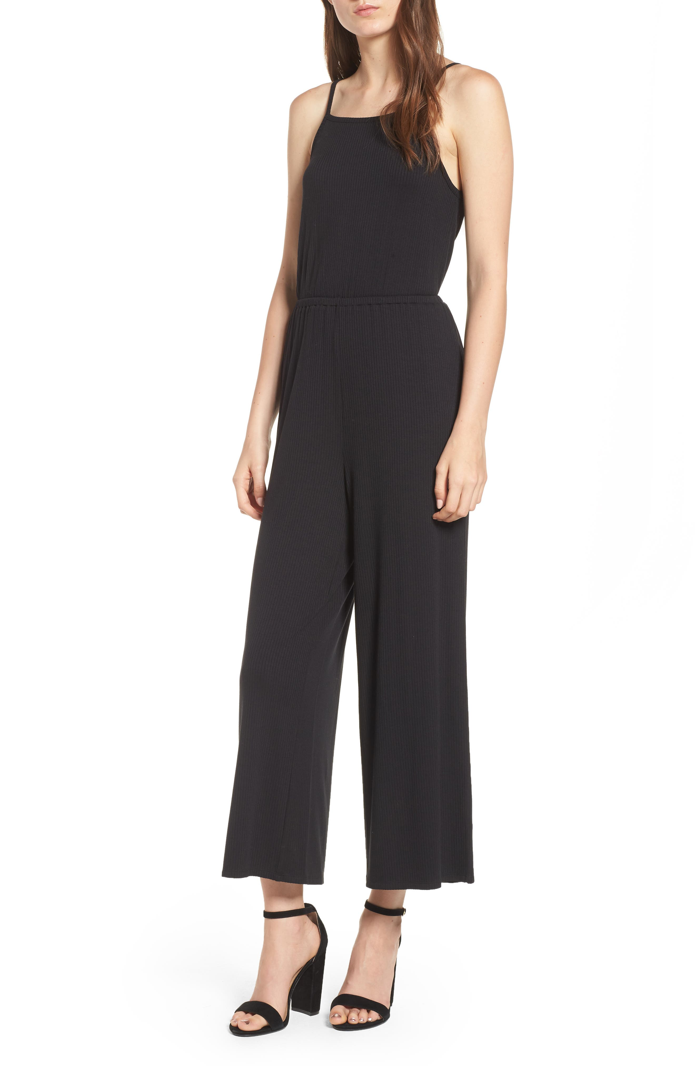 Macall Rib Knit Wide Leg Jumpsuit,                             Main thumbnail 1, color,                             Black
