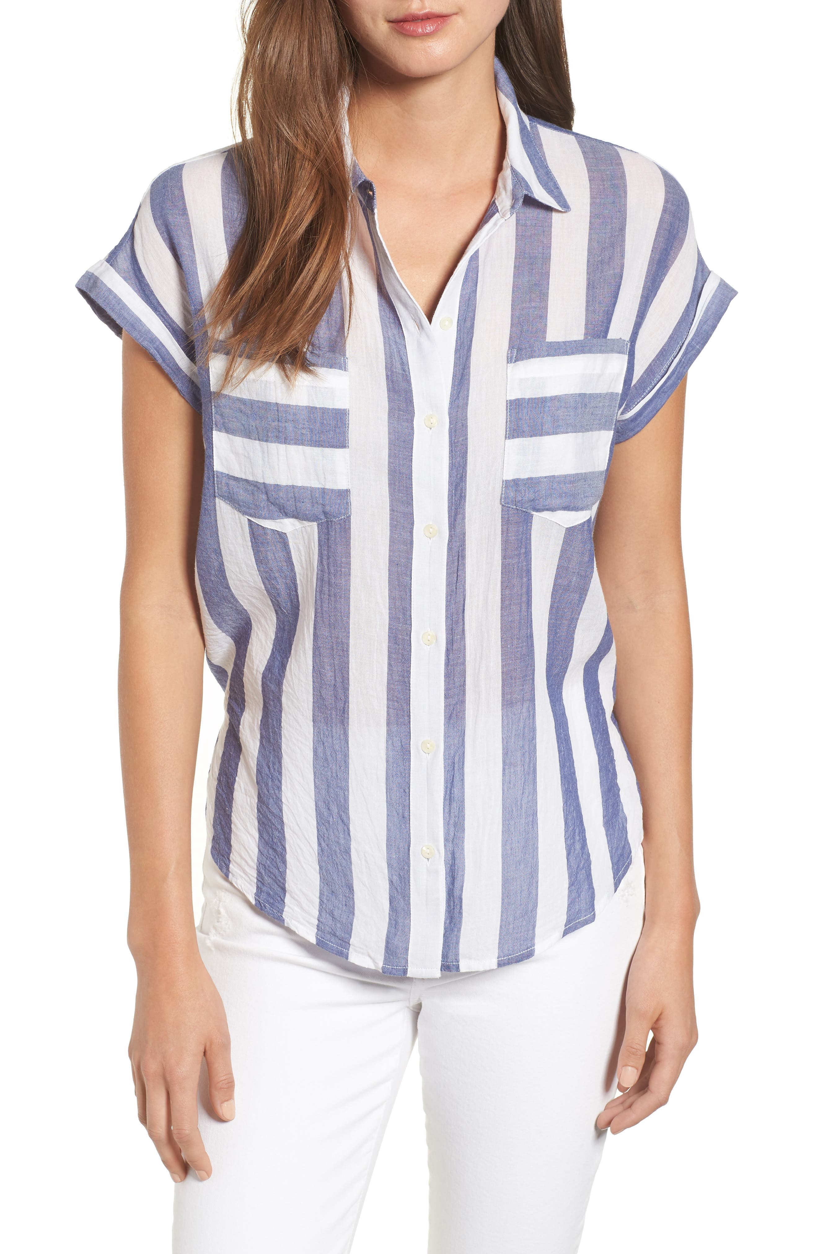 Stripe Tie Back Crinkle Cotton Top,                             Main thumbnail 1, color,                             Blue Multi