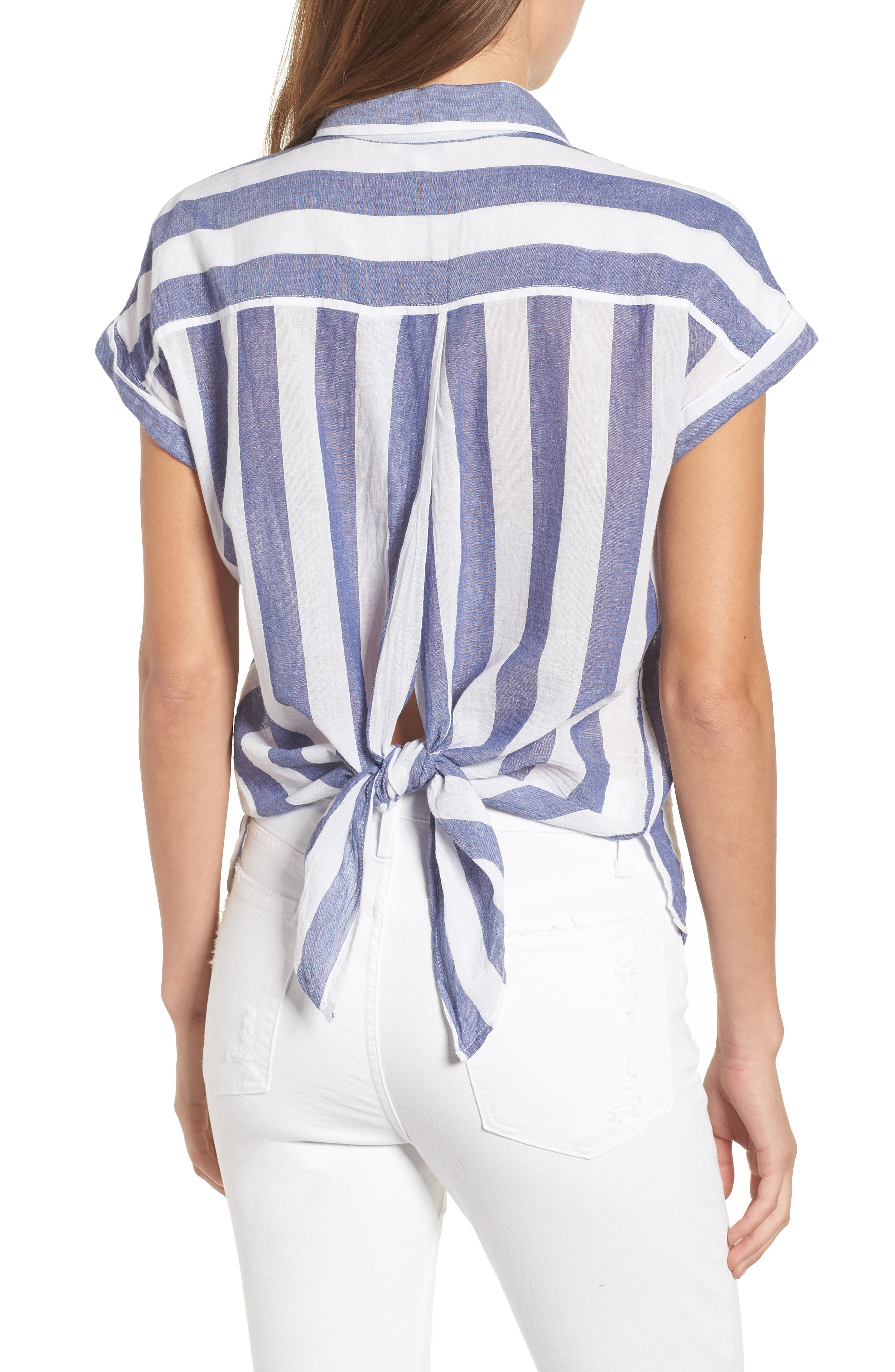 Stripe Tie Back Crinkle Cotton Top,                             Alternate thumbnail 2, color,                             Blue Multi