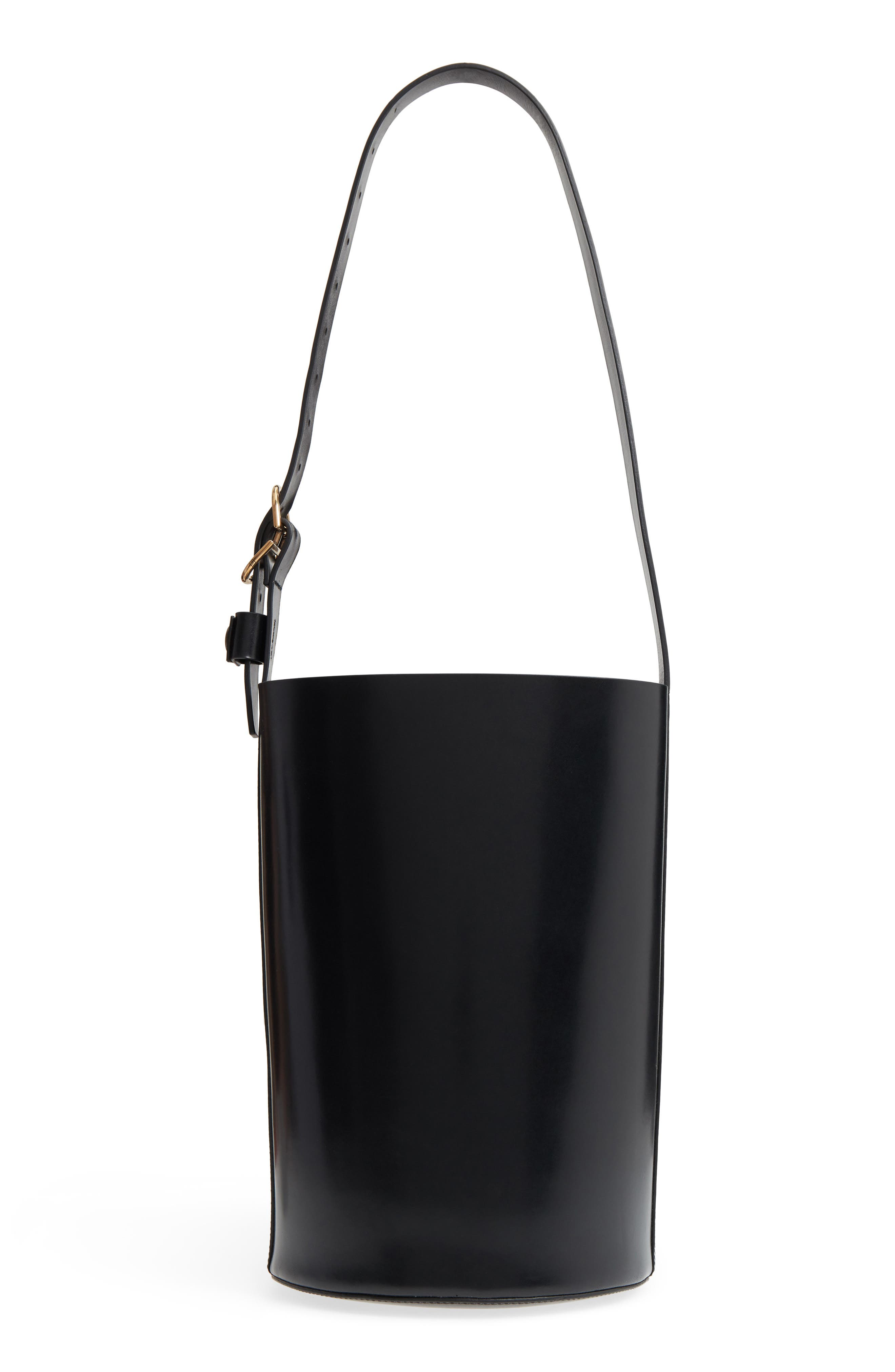 Leather Bucket Bag,                             Alternate thumbnail 3, color,                             Black