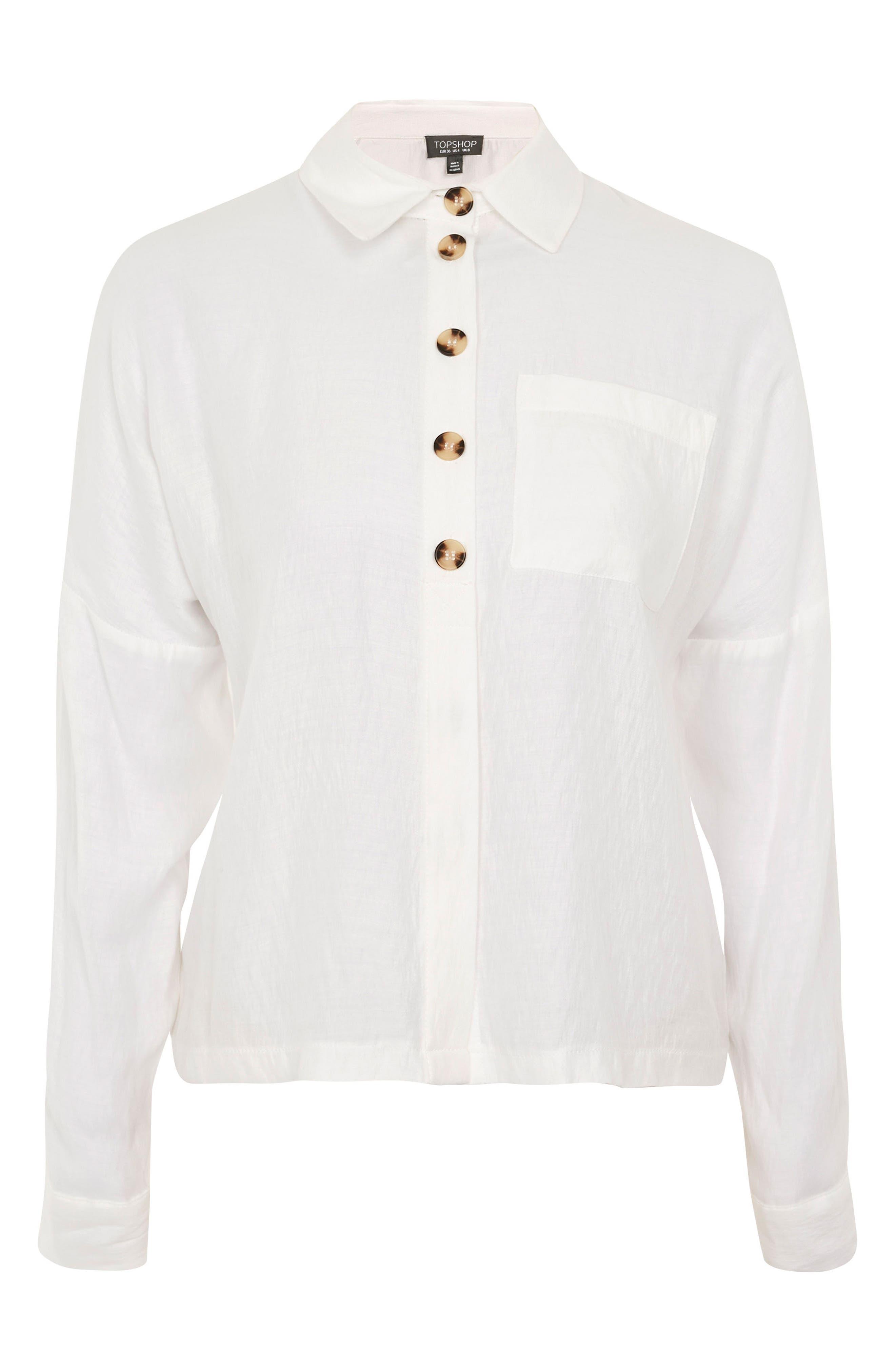 Lightweight Button Shirt,                             Alternate thumbnail 4, color,                             Ivory