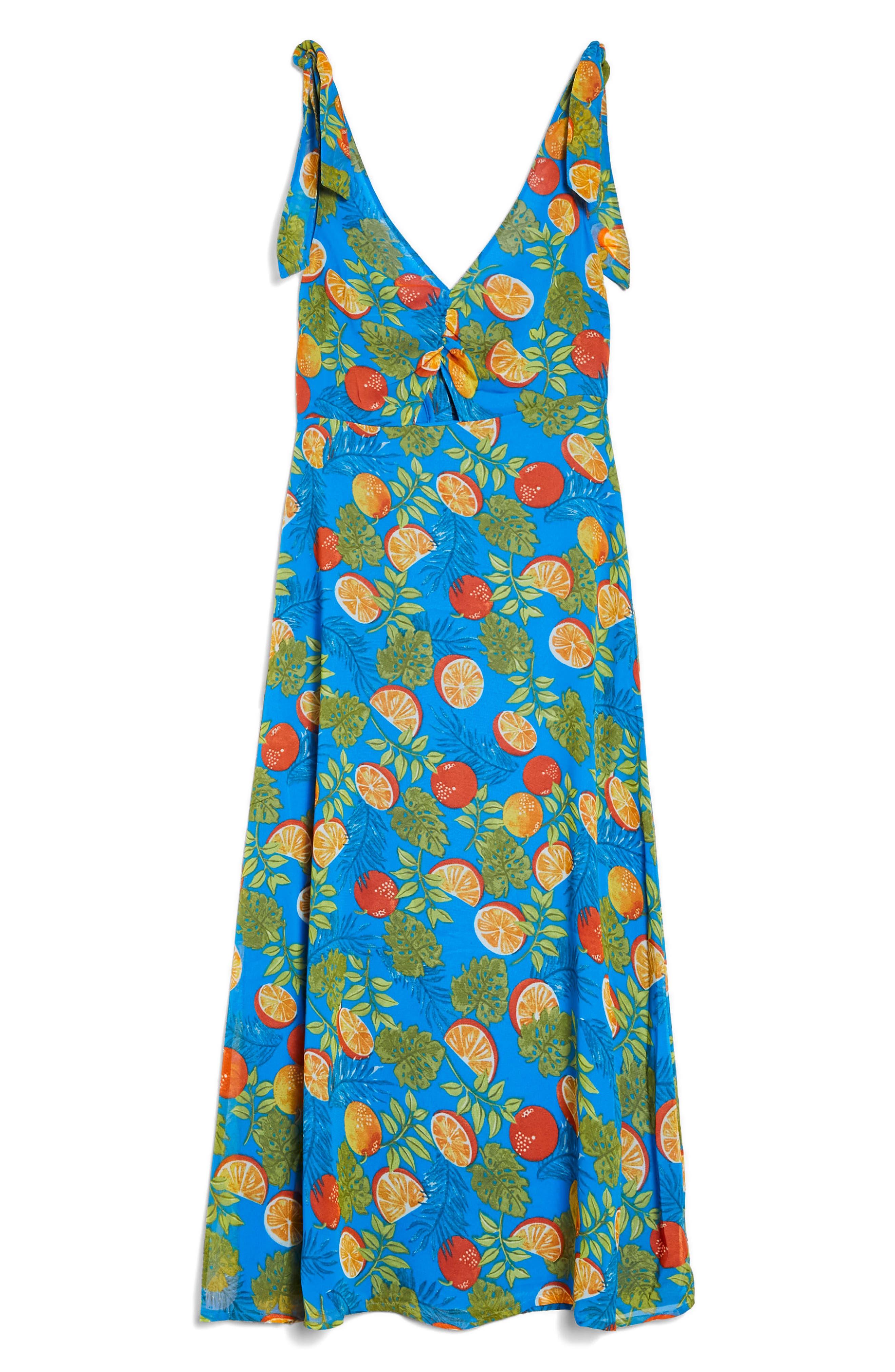 Citrus Tie Shoulder Midi Sundress,                             Alternate thumbnail 4, color,                             Blue