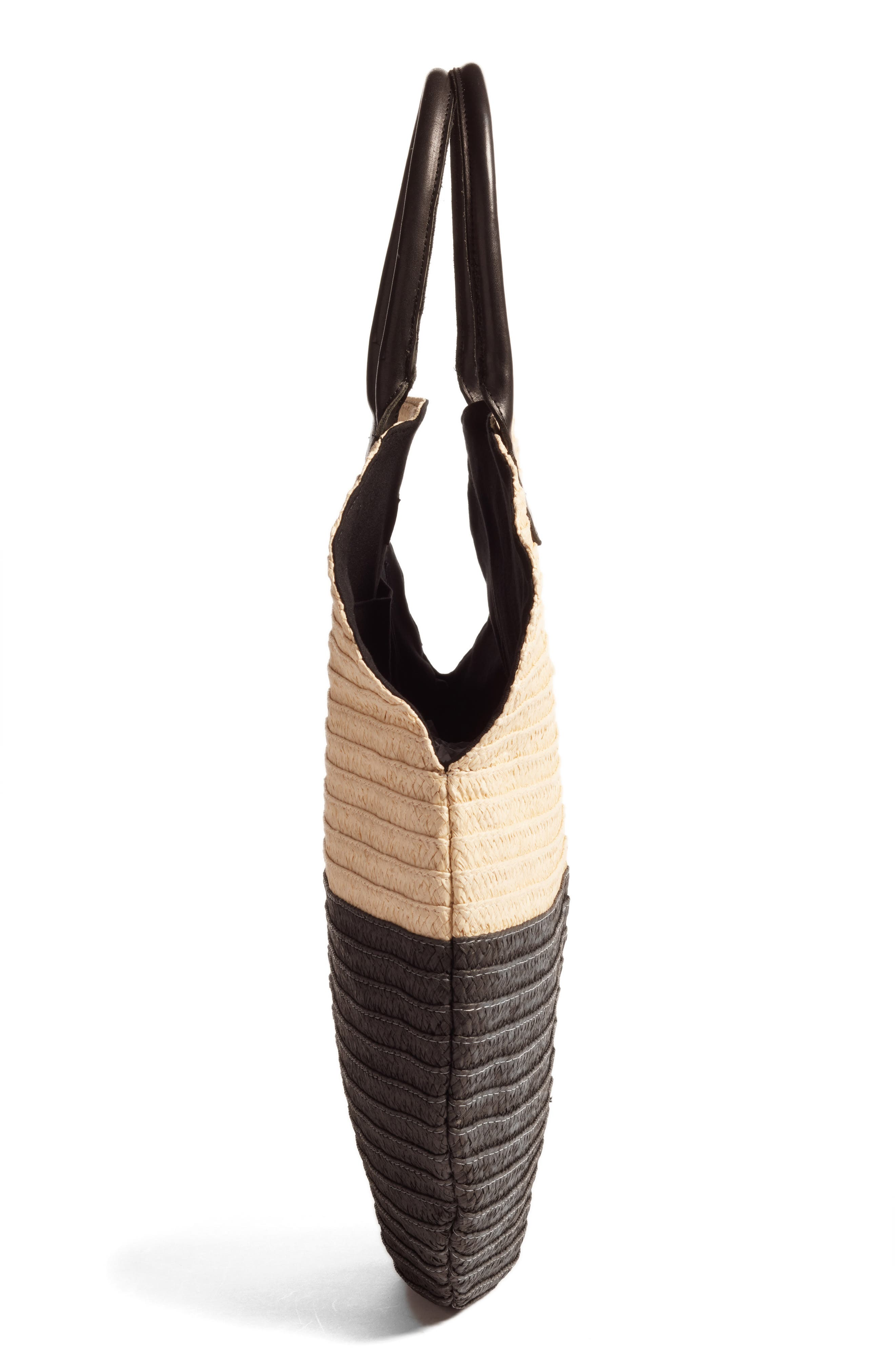 Amalie Straw Circle Tote,                             Alternate thumbnail 4, color,                             Natural/ Black
