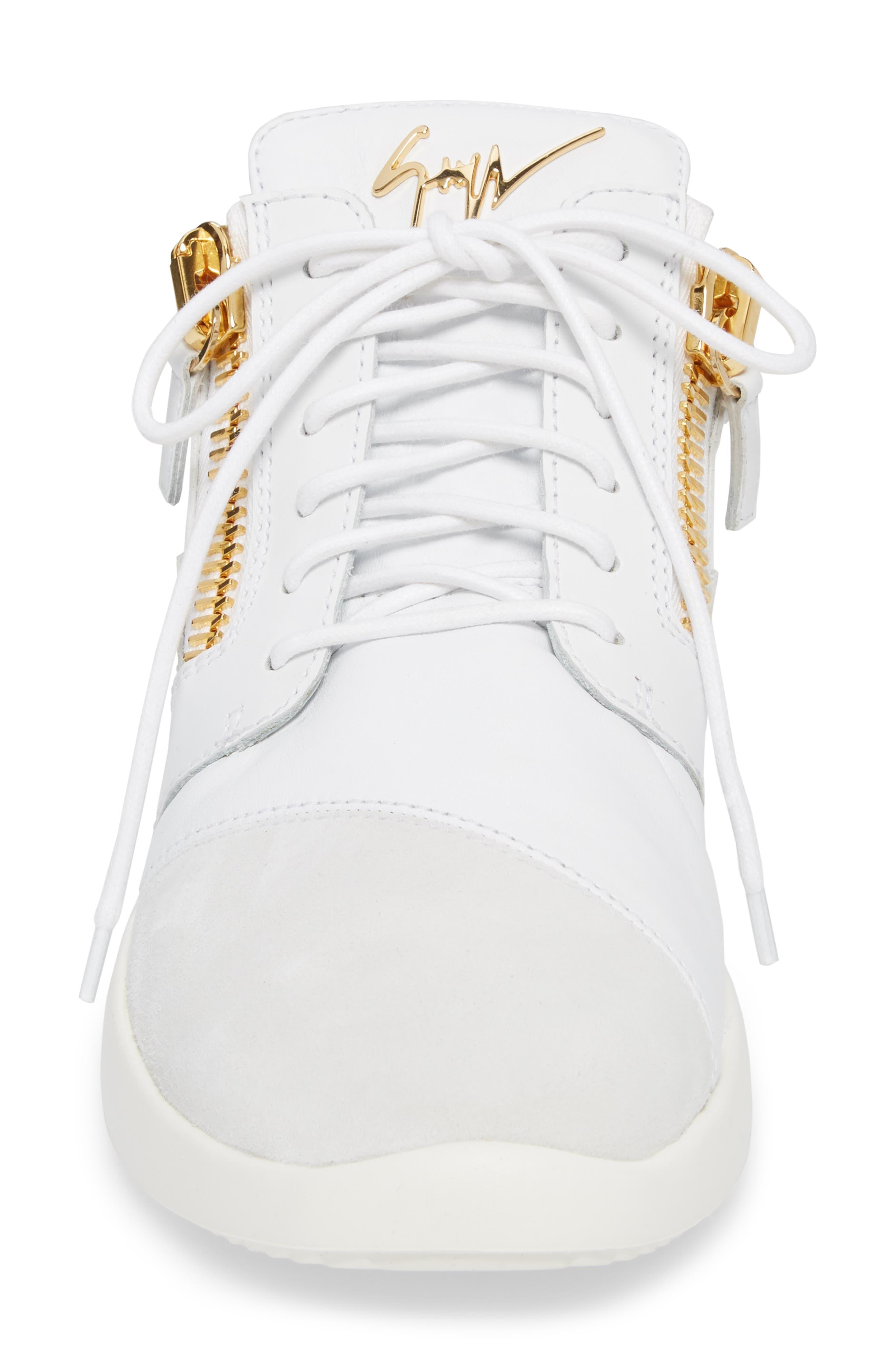Double Zip Trainer Sneaker,                             Alternate thumbnail 4, color,                             Bianco
