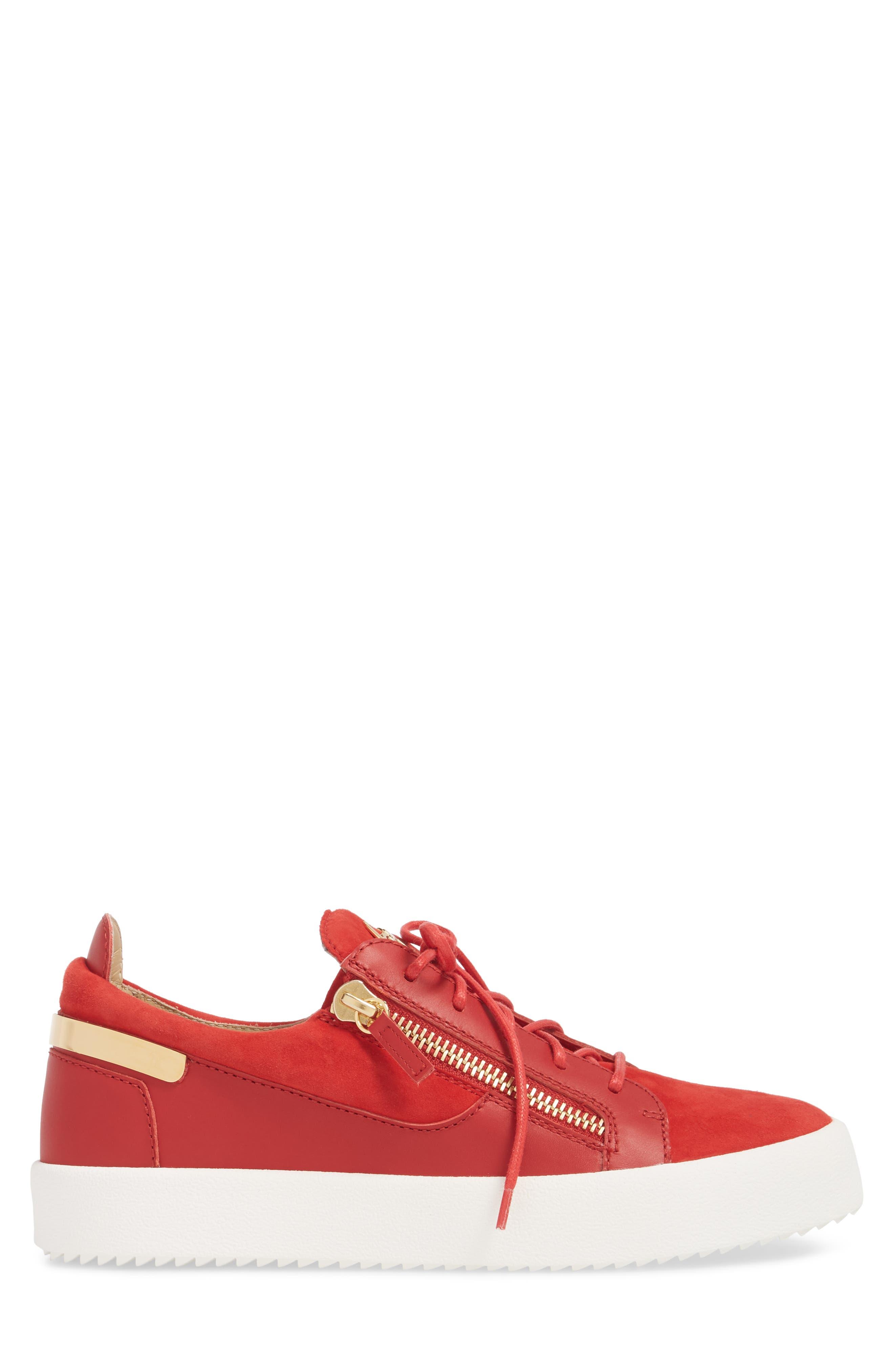 Zip Low Top Sneaker,                             Alternate thumbnail 3, color,                             Fiamma