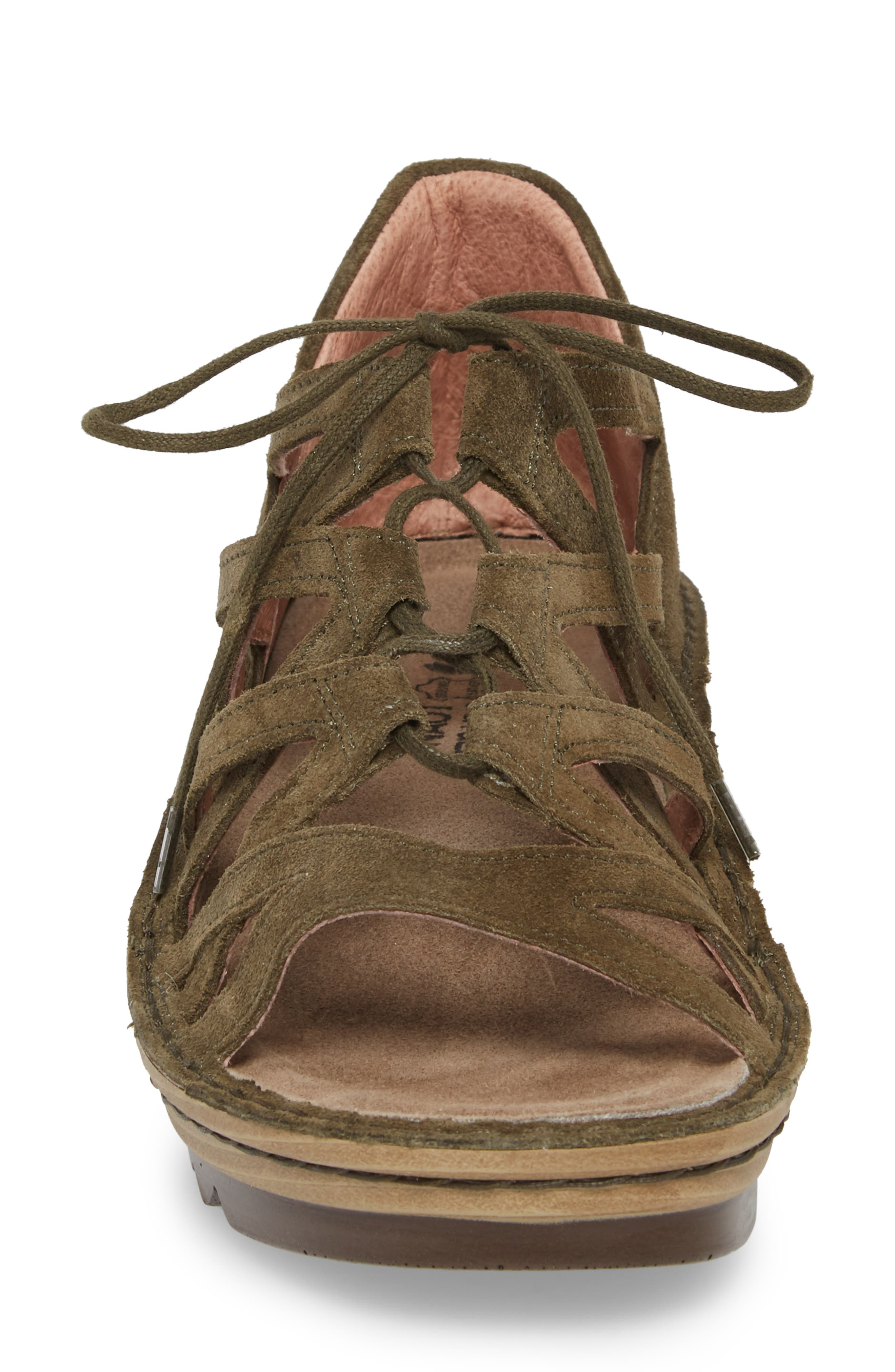 Yarrow Sandal,                             Alternate thumbnail 4, color,                             Oily Olive Suede