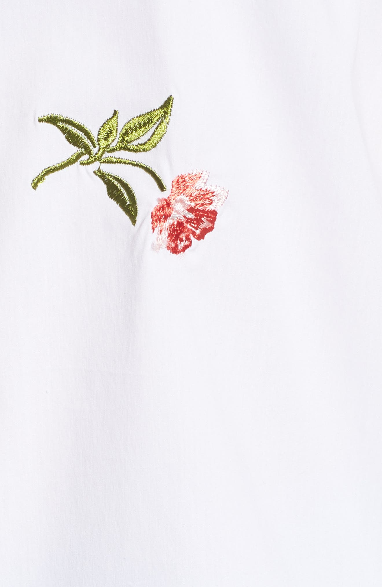 Embroidered Woven Shirt,                             Alternate thumbnail 6, color,                             White- Coral Bud Embroidery