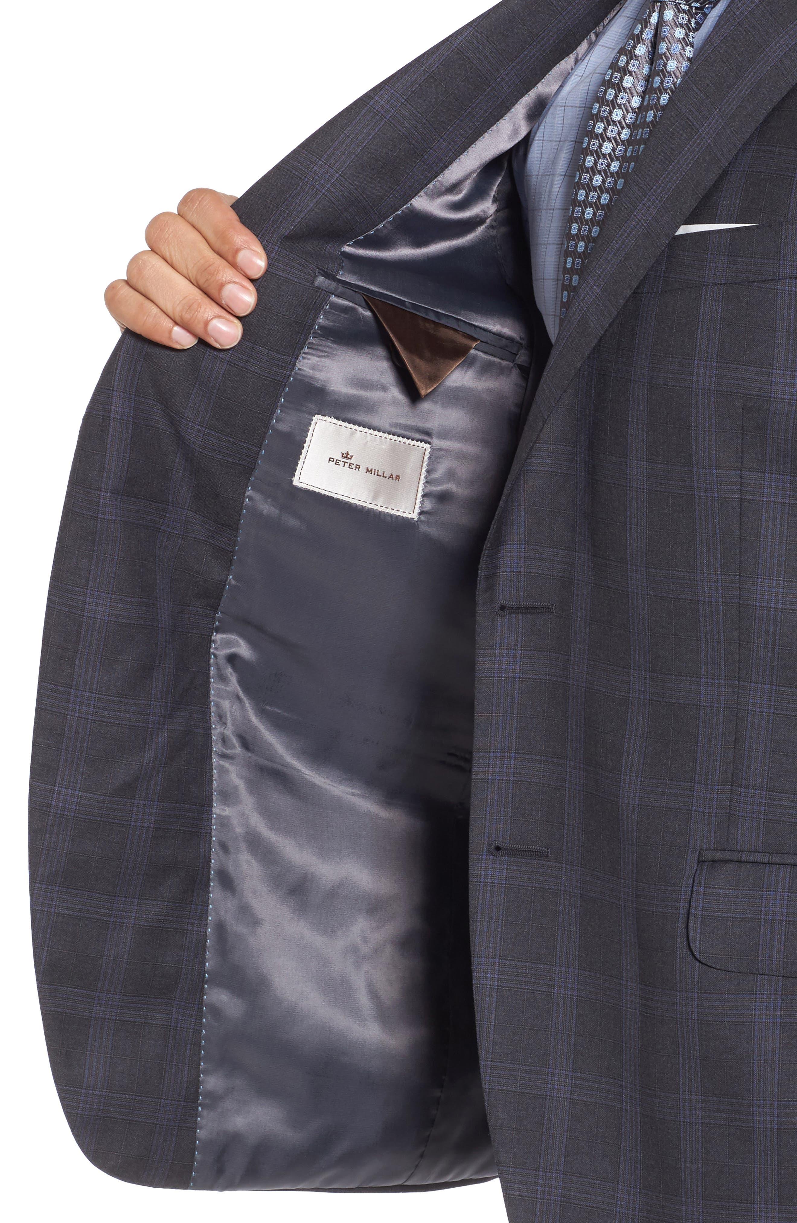 Classic Fit Plaid Wool Suit,                             Alternate thumbnail 5, color,                             Grey