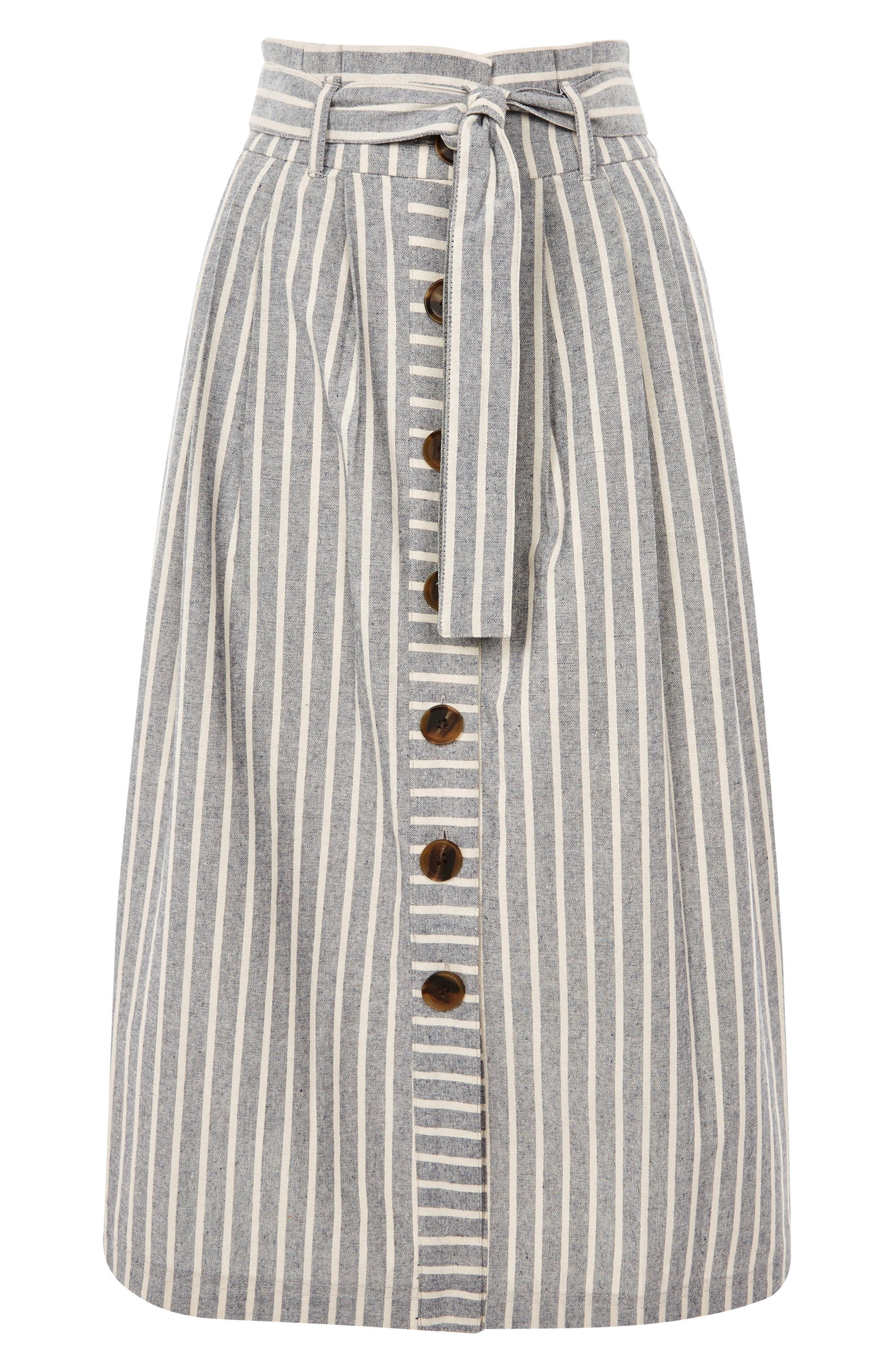 Stripe Tie Waist Midi Skirt,                             Alternate thumbnail 4, color,                             Grey Multi