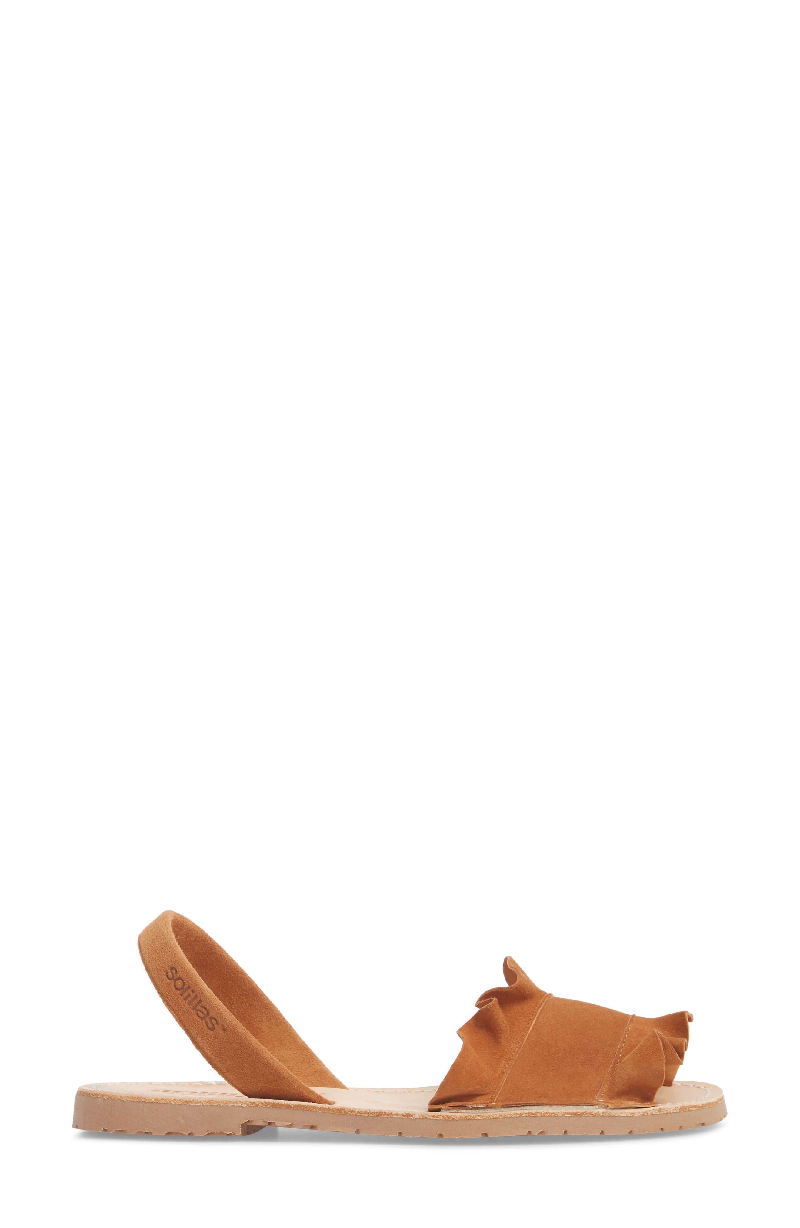 Frilled Flat Sandal,                             Alternate thumbnail 3, color,                             Tan